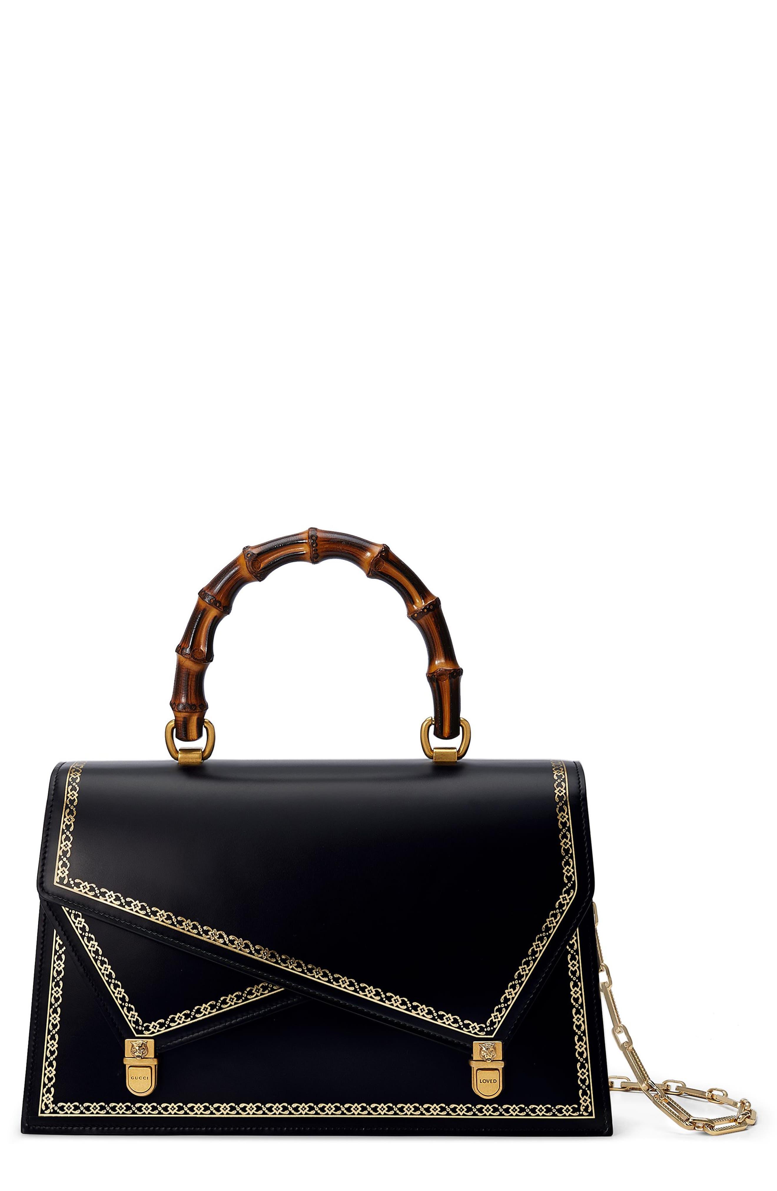GUCCI Linea P Border Leather Double Flap Top Handle Satchel