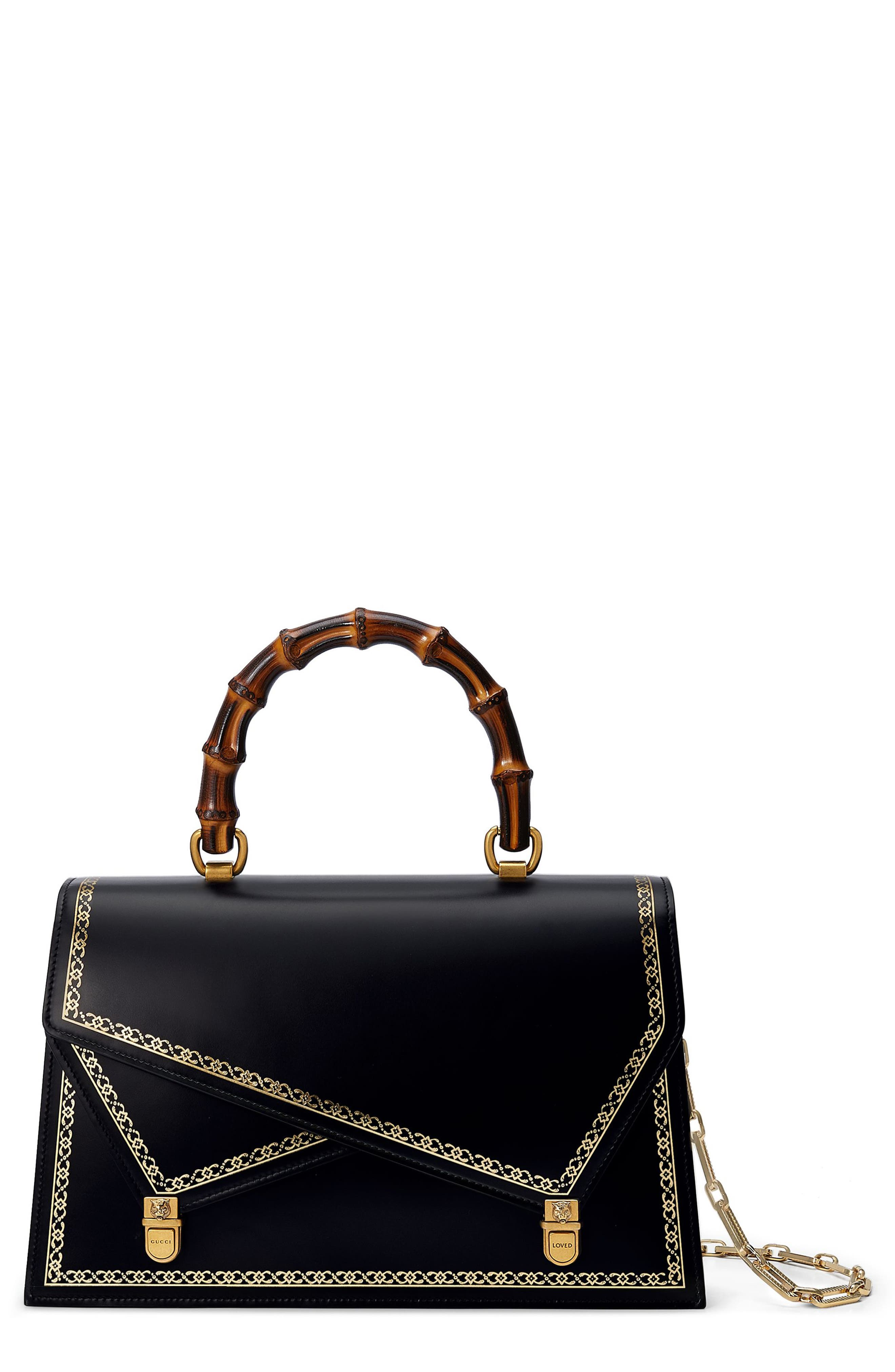 Alternate Image 1 Selected - Gucci Linea P Border Leather Double Flap Top Handle Satchel