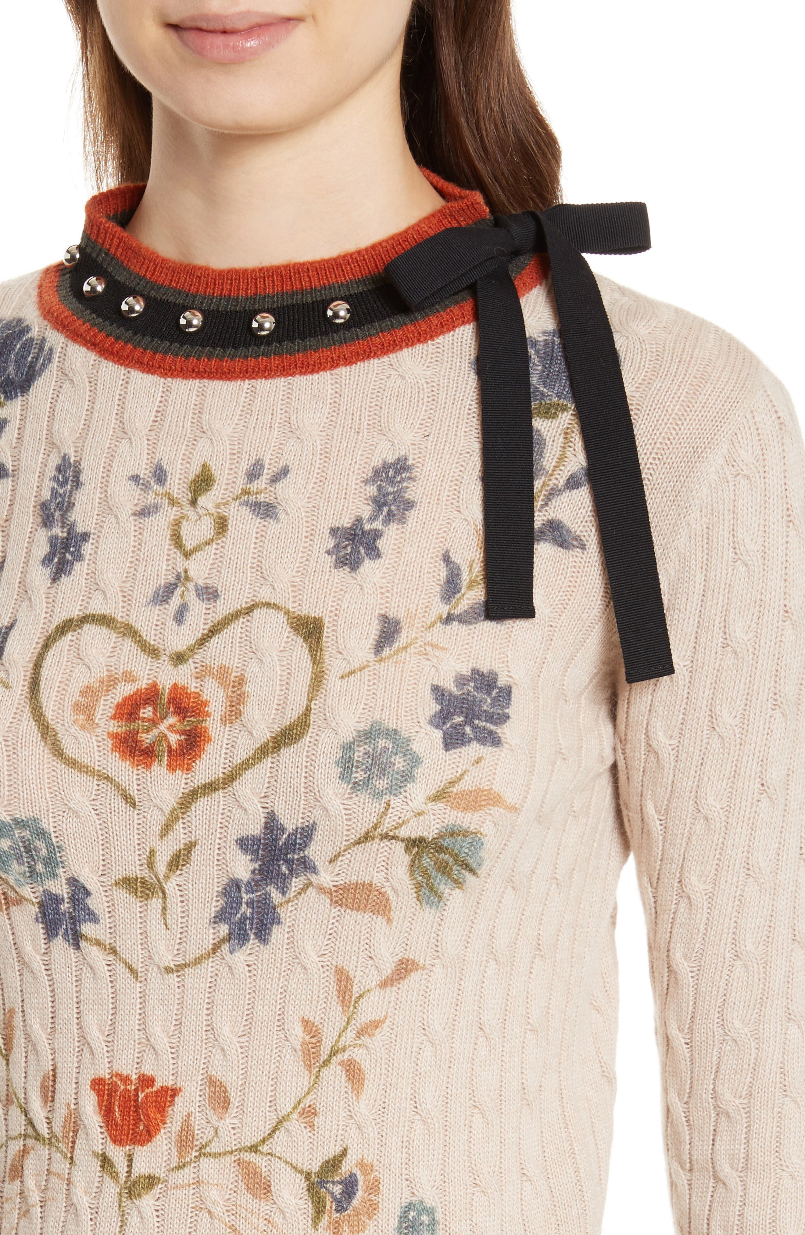 Printed Wool & Angora Blend Sweater,                             Alternate thumbnail 4, color,                             Deserto Chiaro