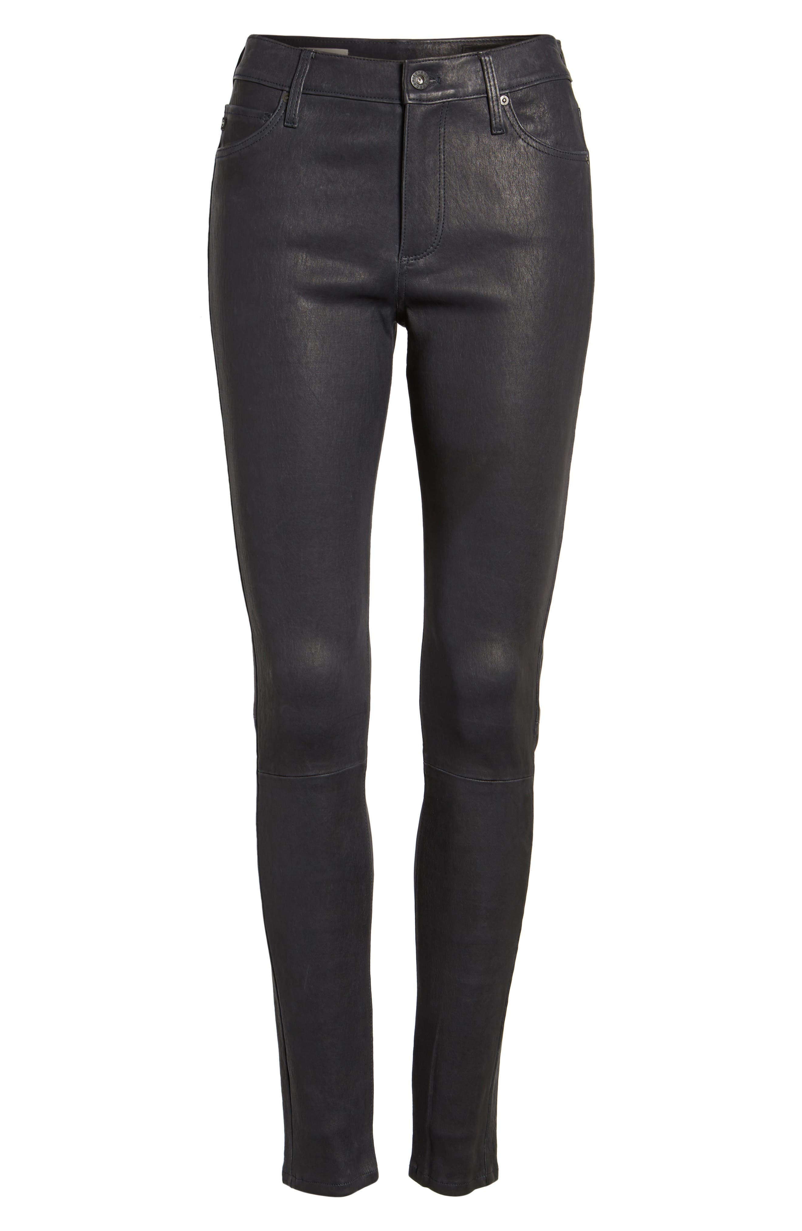 Farrah Leather Skinny Jeans,                             Alternate thumbnail 6, color,                             Pure Navy