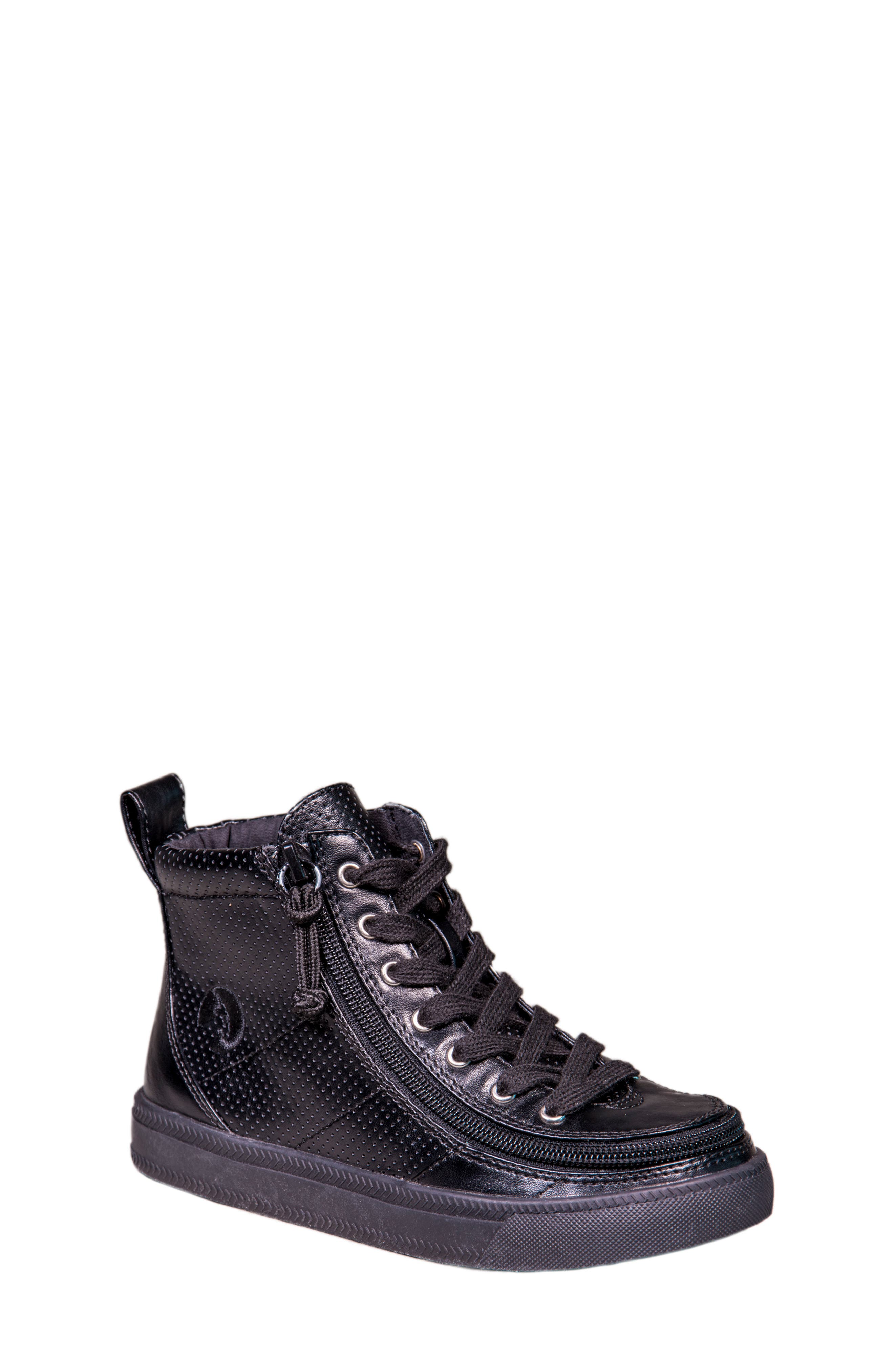 Zip Around Perforated High Top Sneaker,                             Main thumbnail 1, color,                             Black Perforated