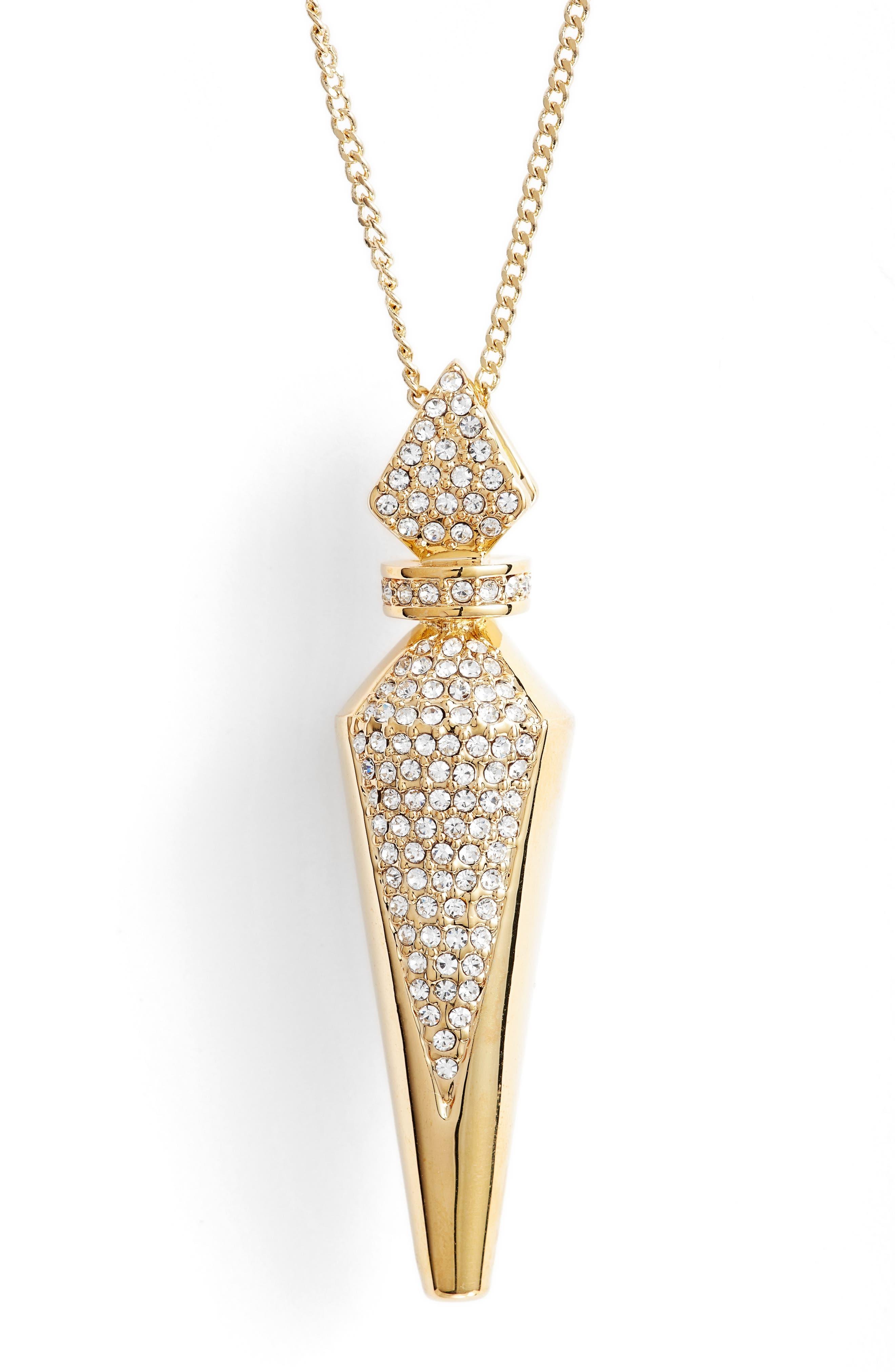 Pavé Crystal Pendant Necklace,                             Alternate thumbnail 2, color,                             Gold/ Crystal