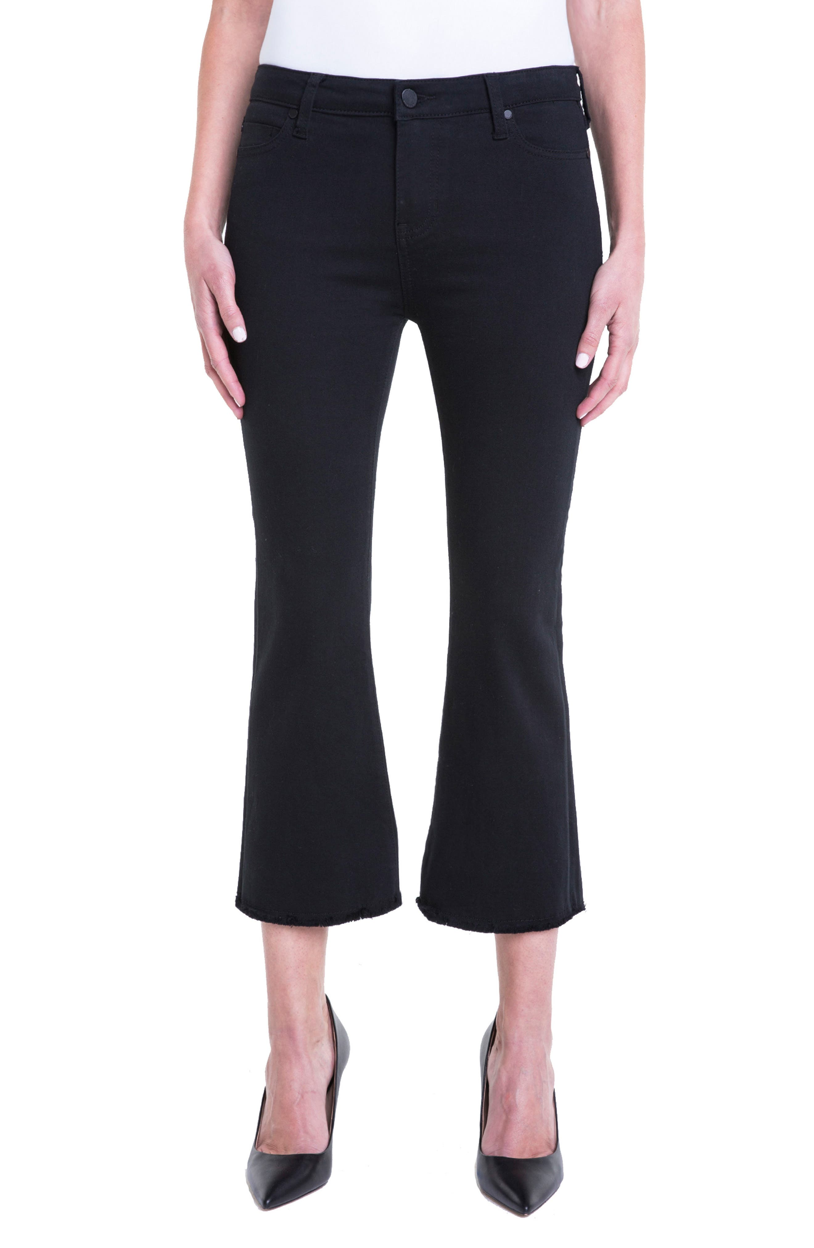 Hannah Crop Flare Jeans,                         Main,                         color, Black Rinse
