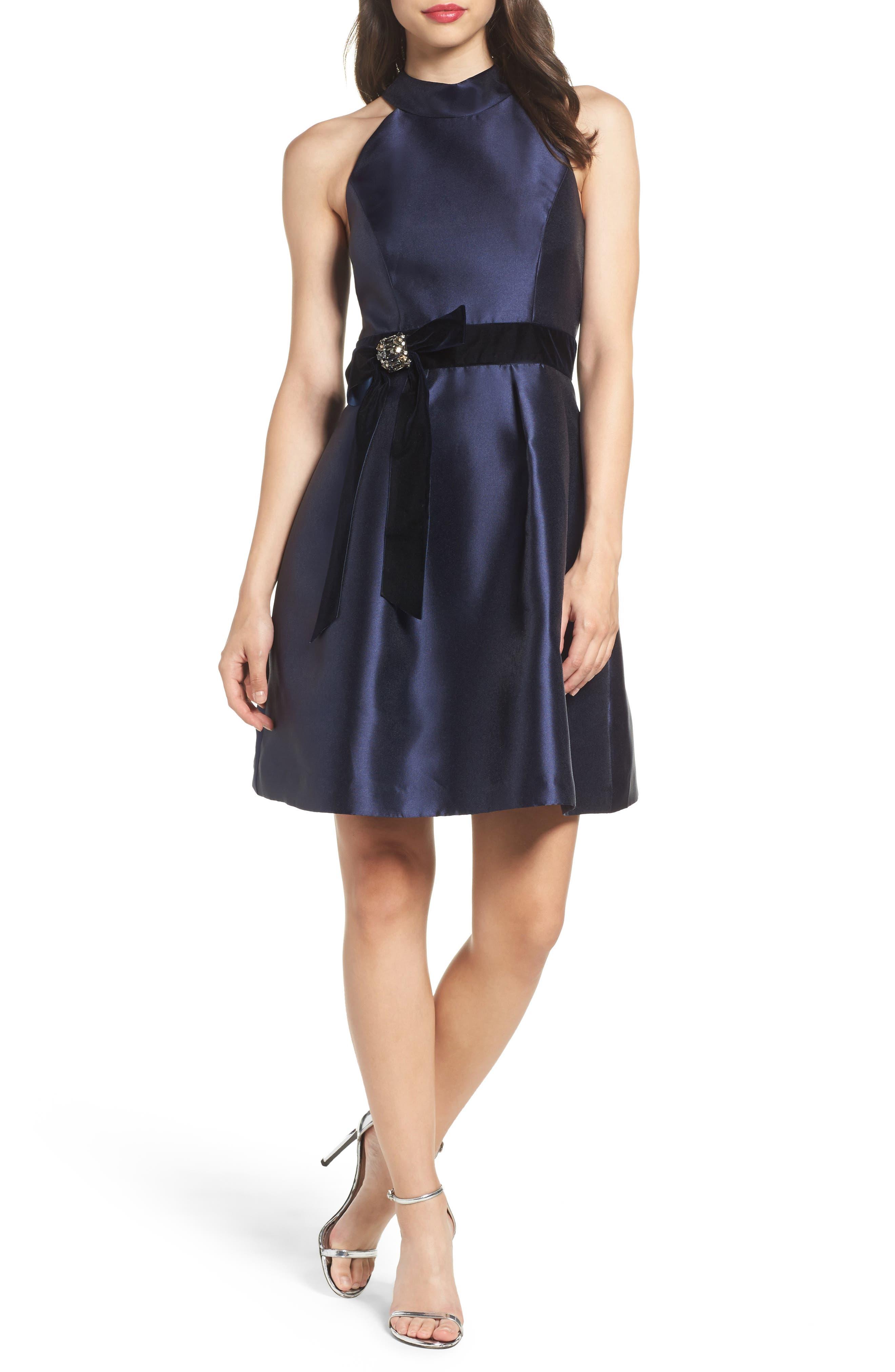 Halter Fit & Flare Dress,                         Main,                         color, Navy