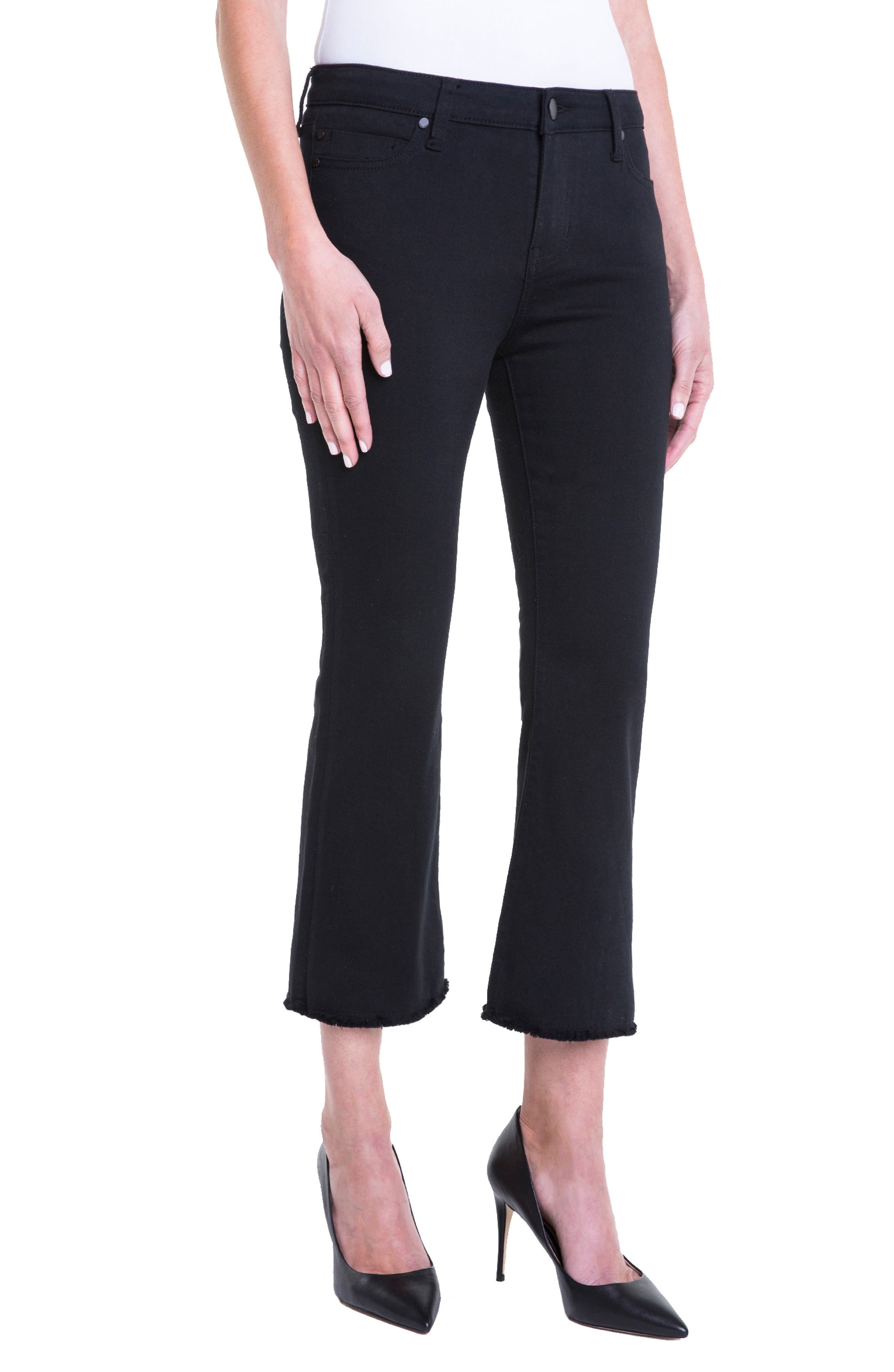 Hannah Crop Flare Jeans,                             Alternate thumbnail 5, color,                             Black Rinse
