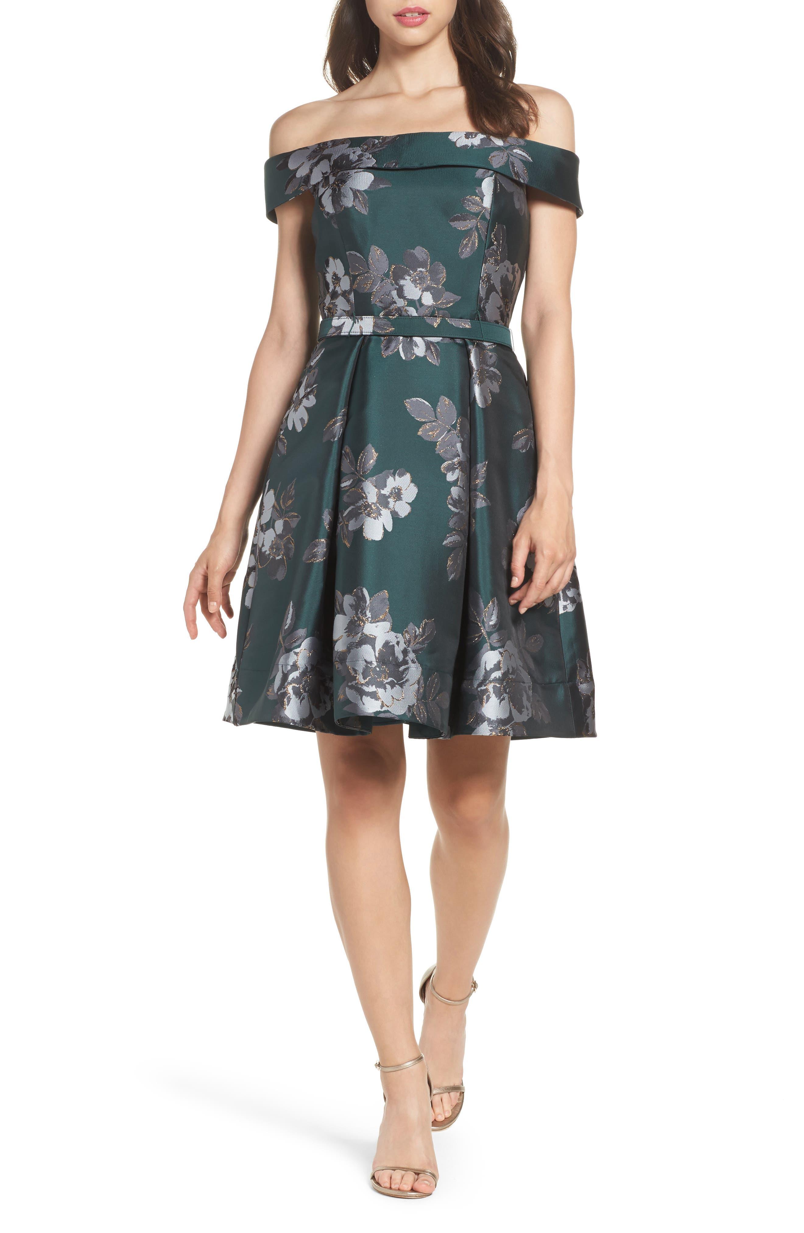 Eliza J Off the Shoulder Jacquard Dress (Regular & Petite)