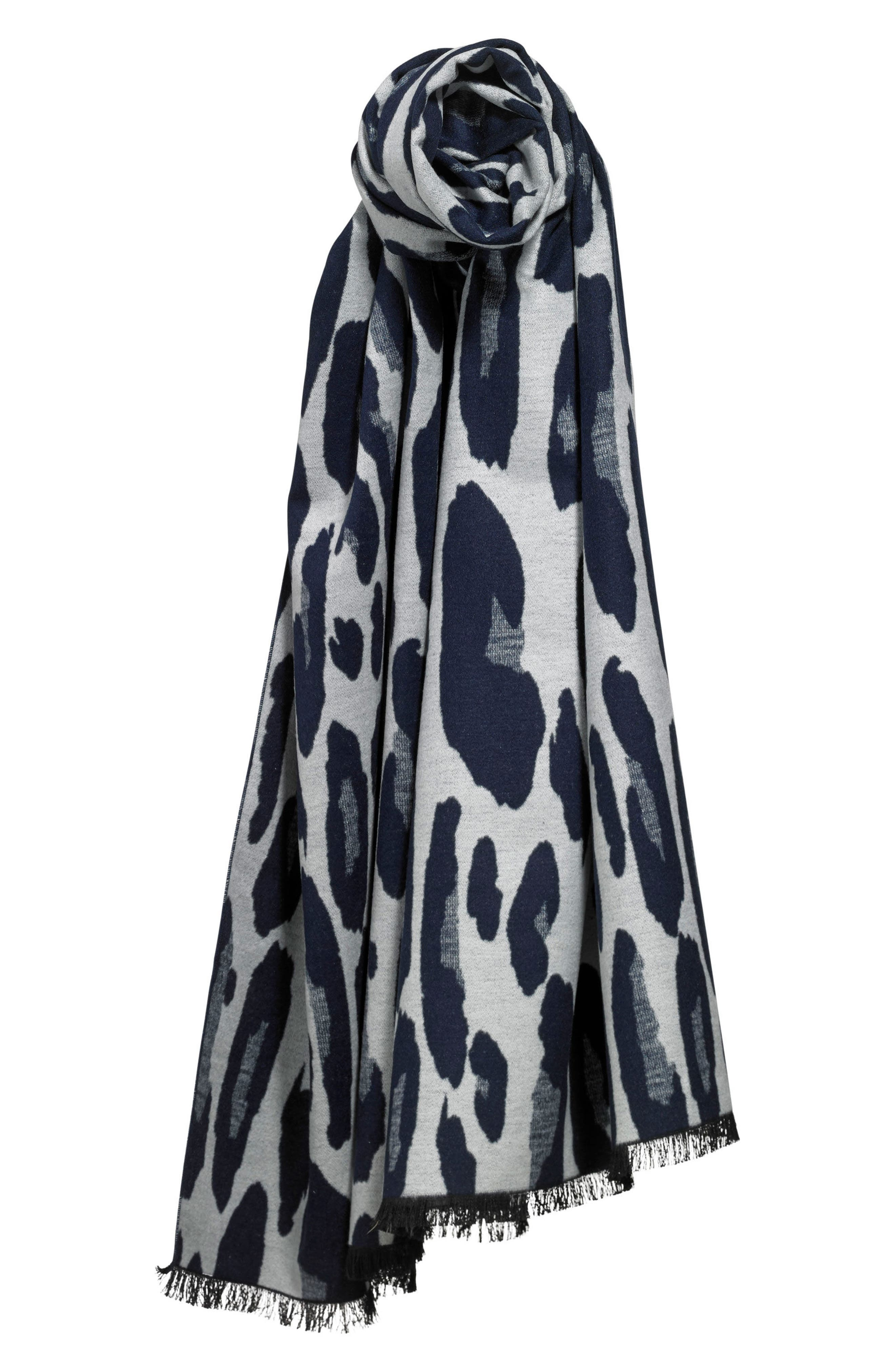 Leopard Print Brushed Silk Scarf,                             Alternate thumbnail 3, color,                             Navy