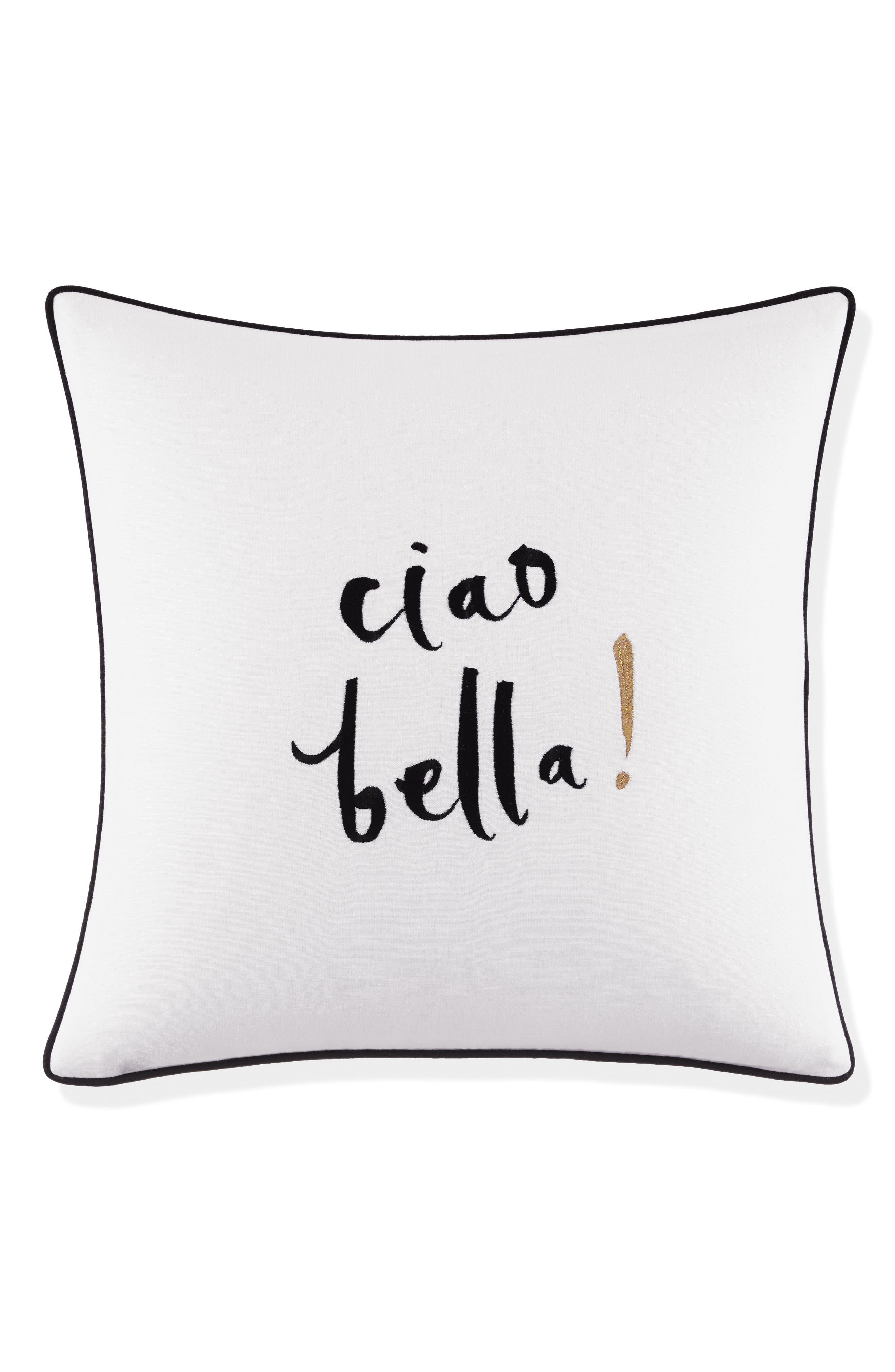 ciao bella pillow,                         Main,                         color, White