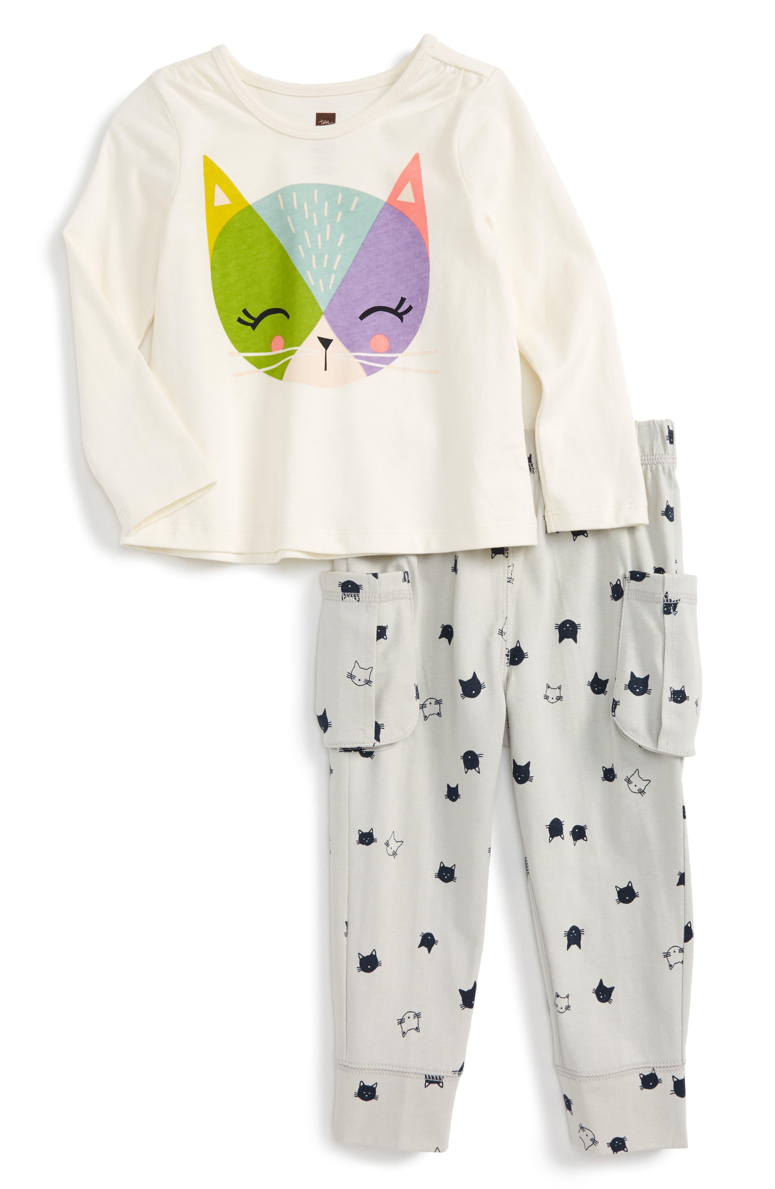 Main Image - Tea Collection Hamish McHamish Graphic Top & Sweatpants (Baby Girls)