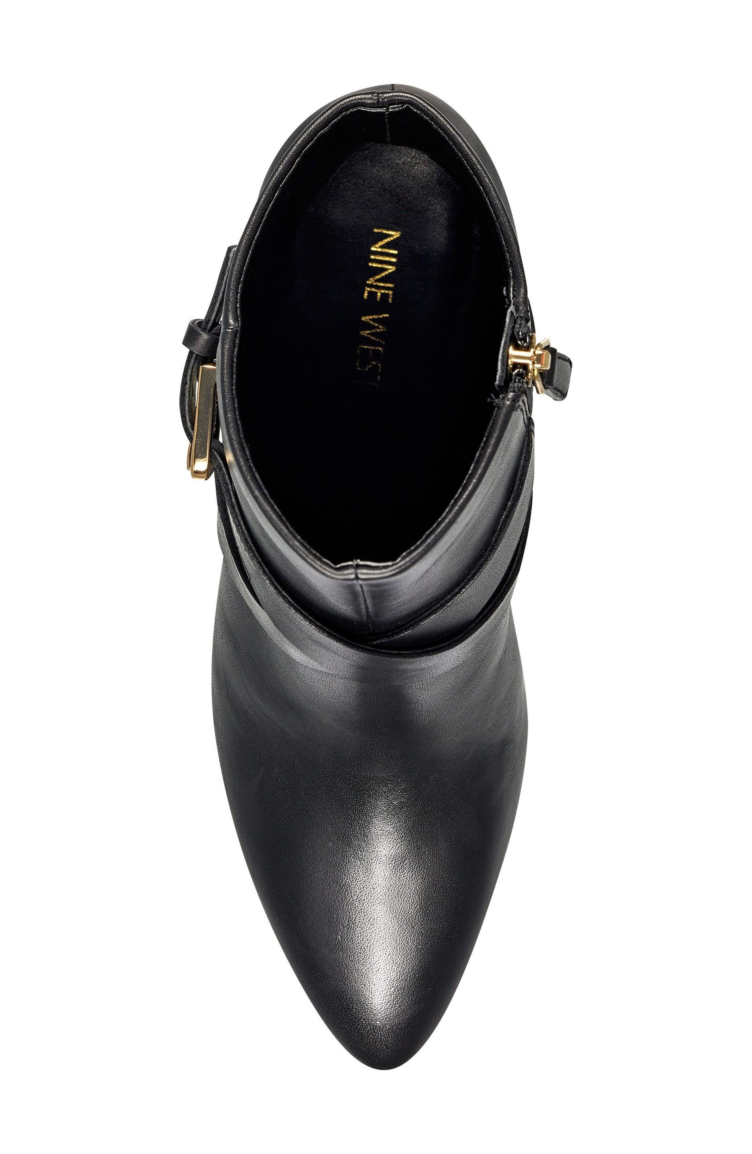 Cavanagh Pointy Toe Bootie,                             Alternate thumbnail 5, color,                             Black Leather