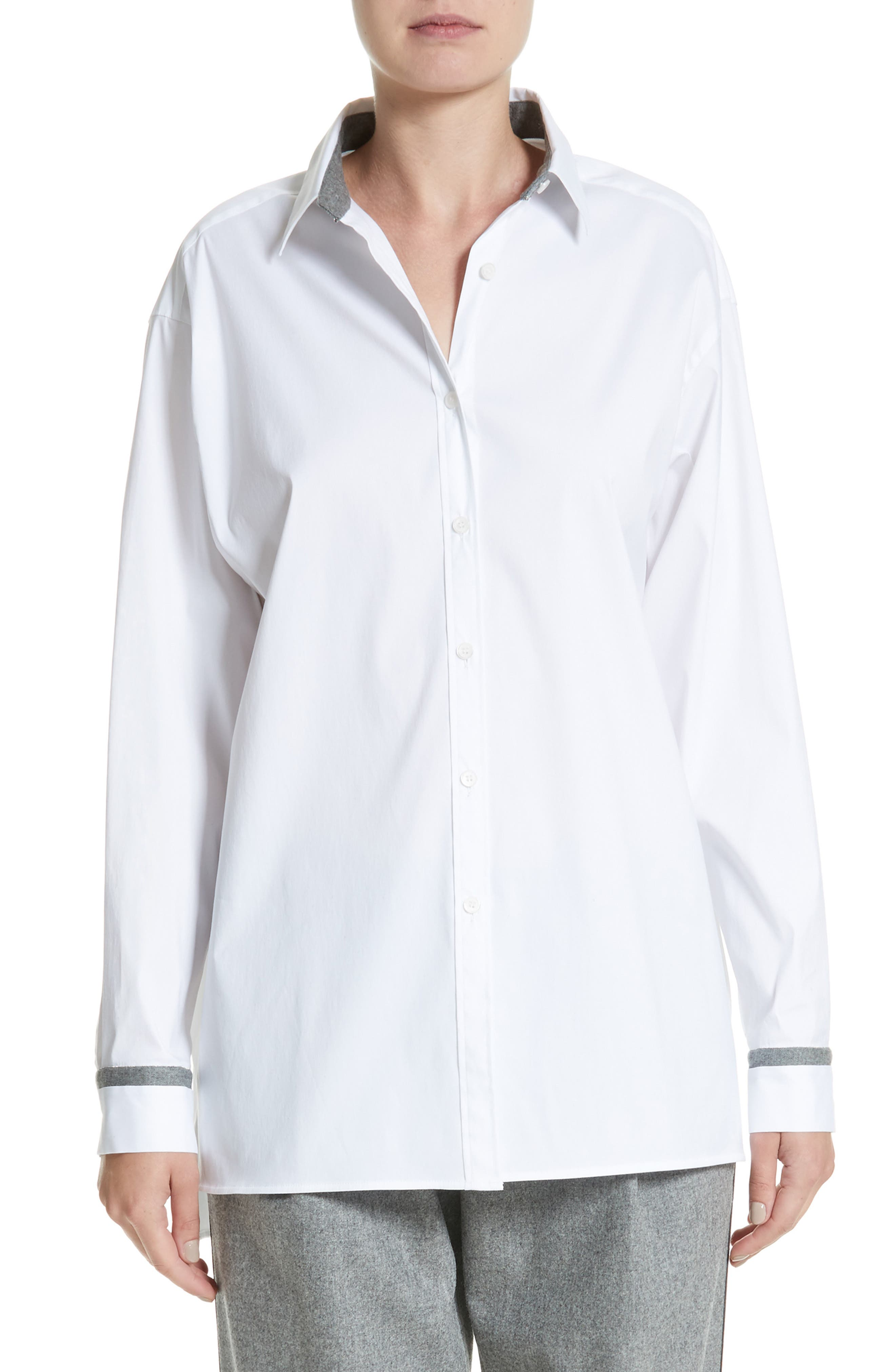 Main Image - Lafayette 148 New York Jessie Crystal & Chain Trim Blouse