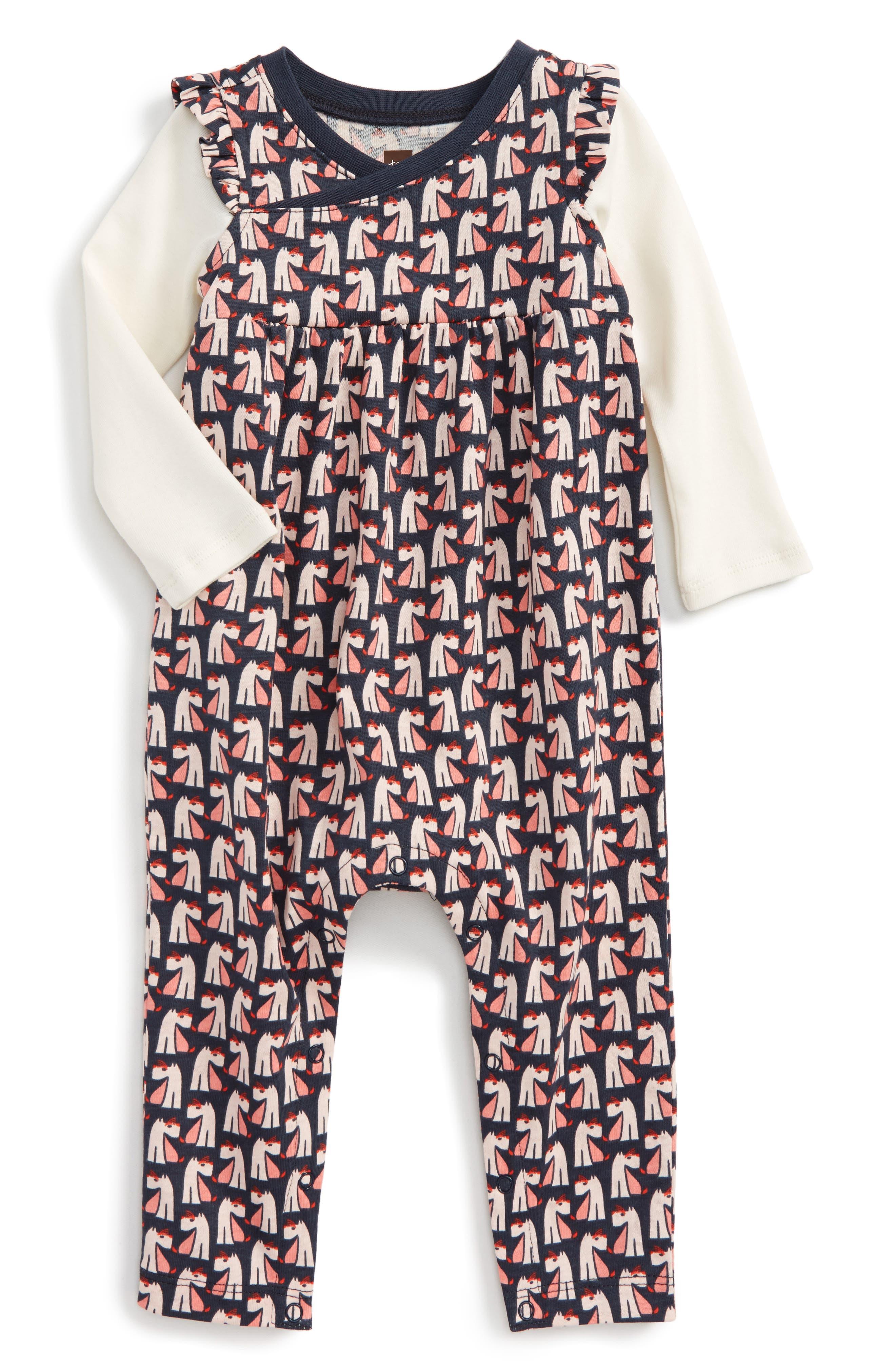 Main Image - Tea Collection Scottie Dog Romper (Baby Girls)
