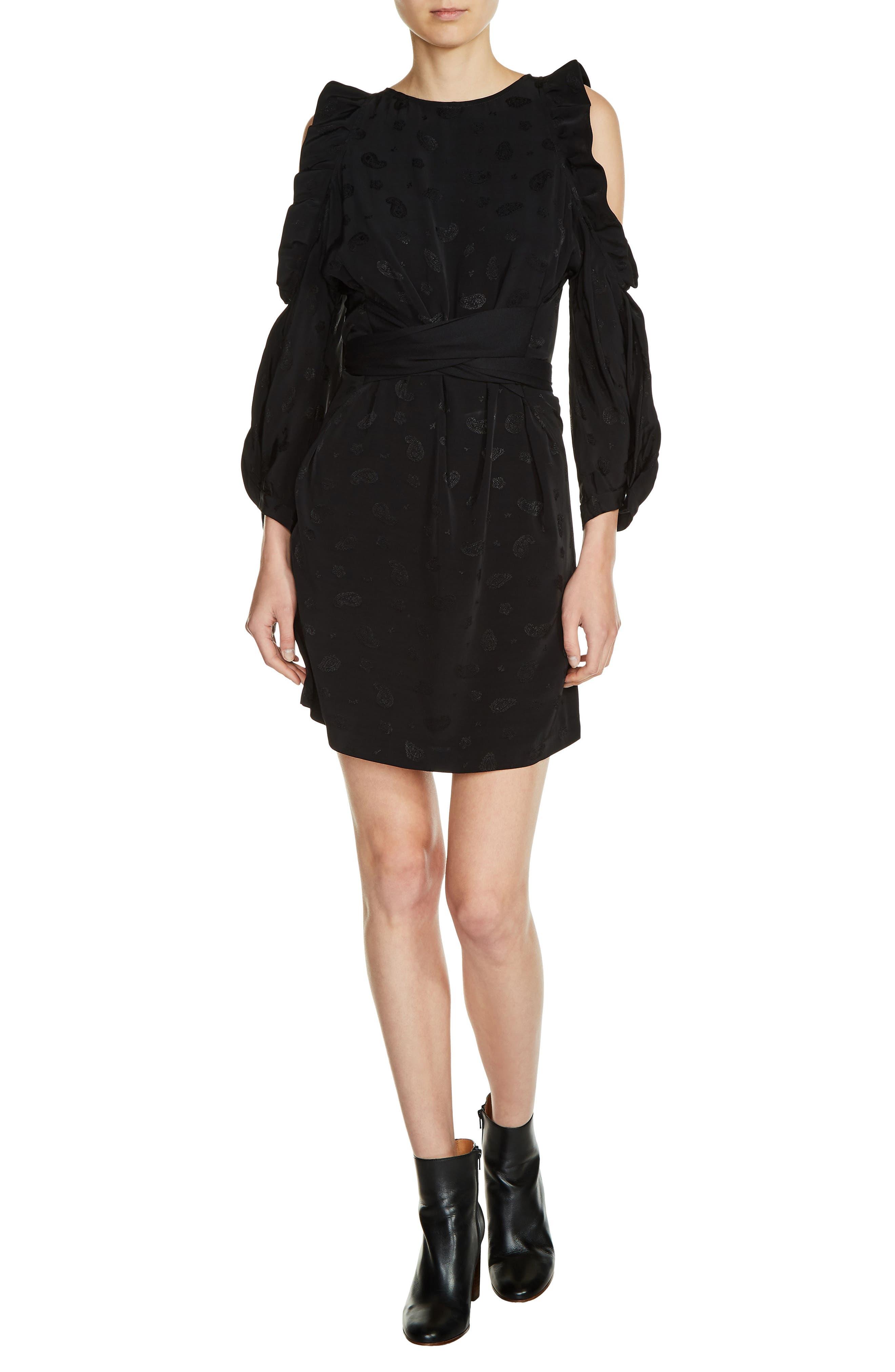 Bow Back Cold Shoulder Dress,                         Main,                         color, Black