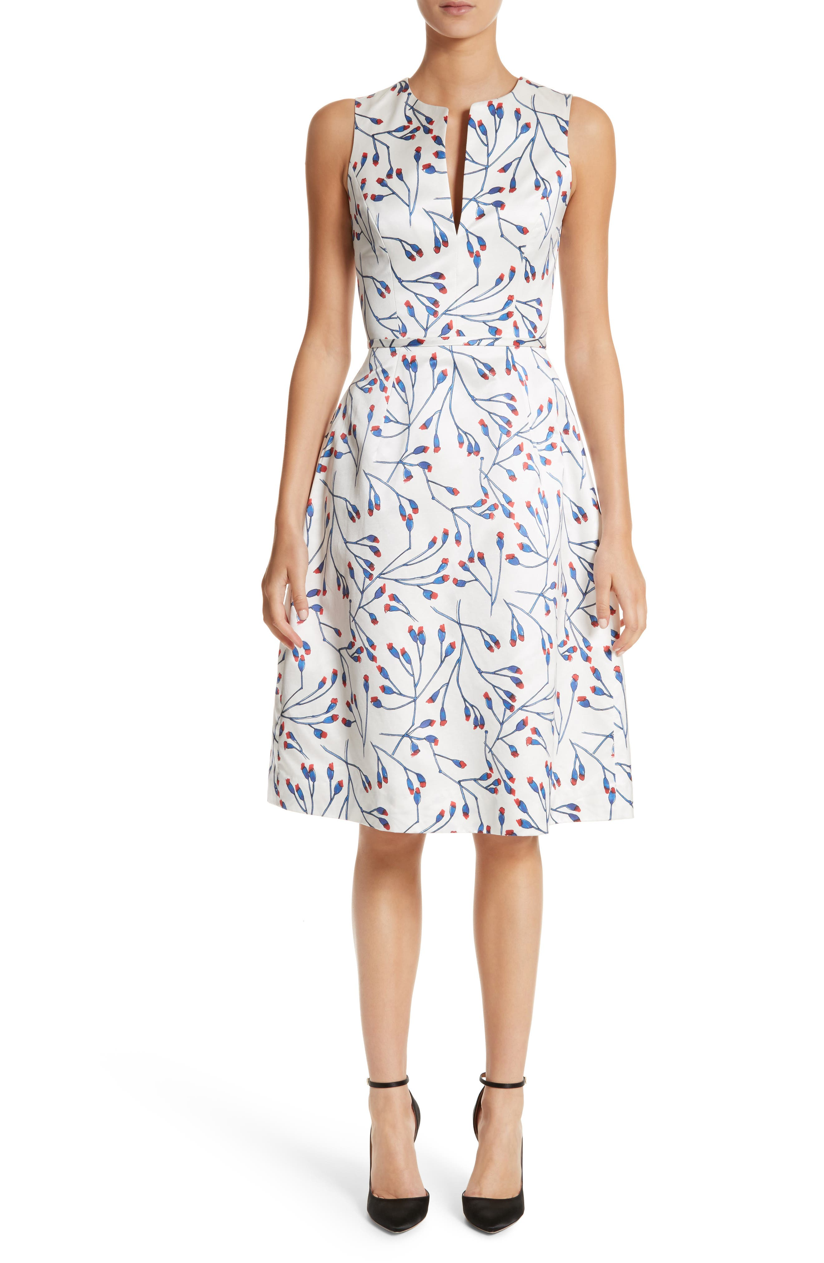Carolina Herrera Floral Split Neck Fit & Flare Dress