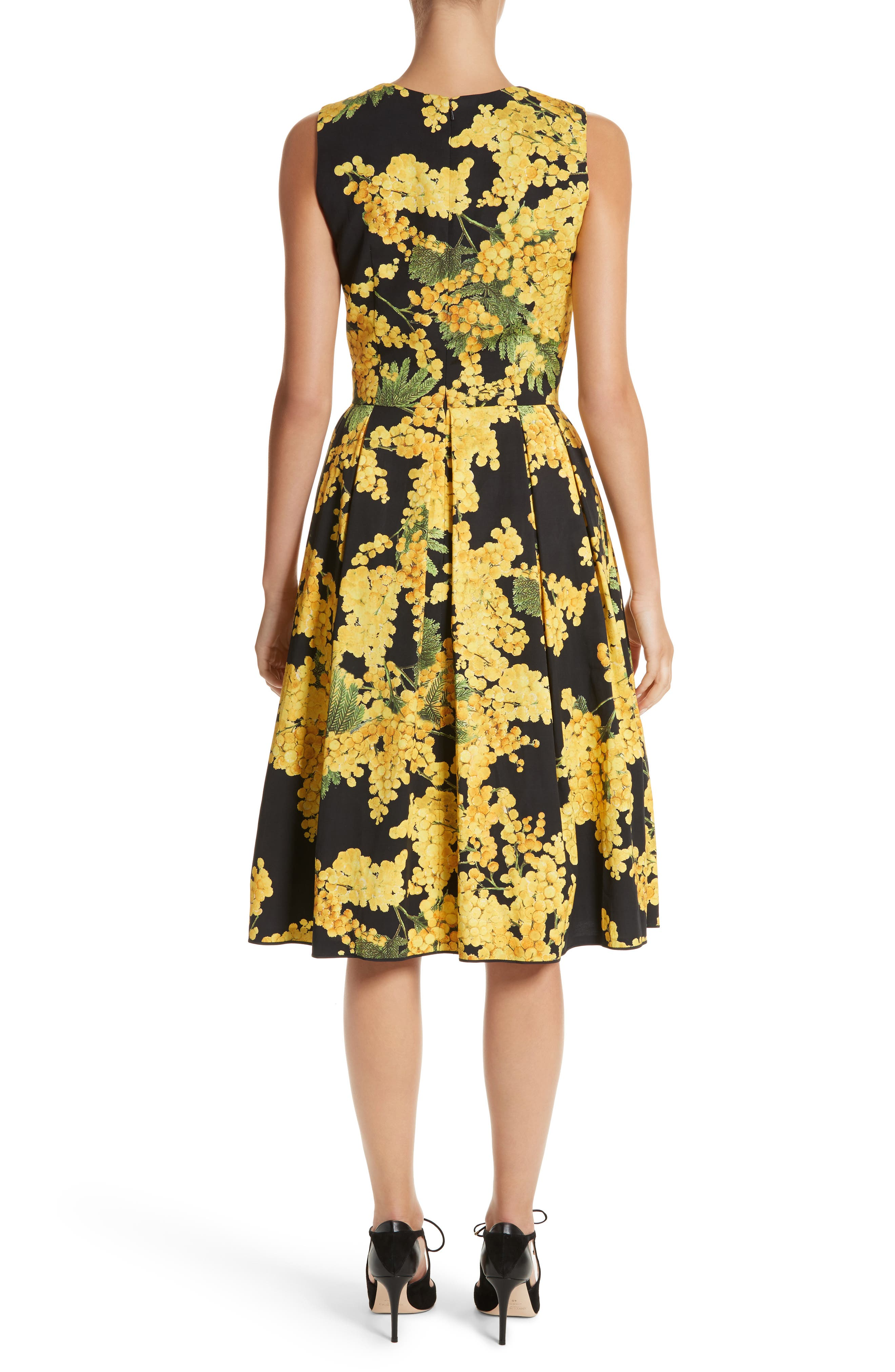 Floral Print Faille Day Dress,                             Alternate thumbnail 2, color,                             Freesia Yellow/Black