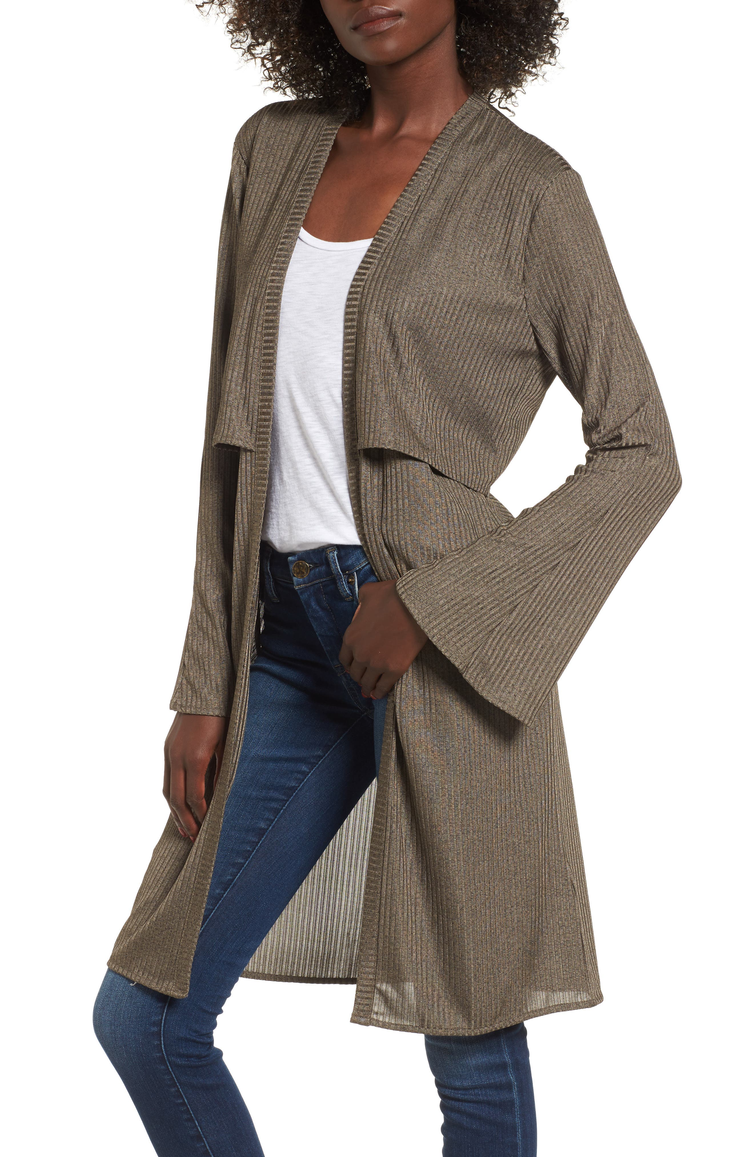 Casey Open Front Cardigan,                             Main thumbnail 1, color,                             Deep Army Melange
