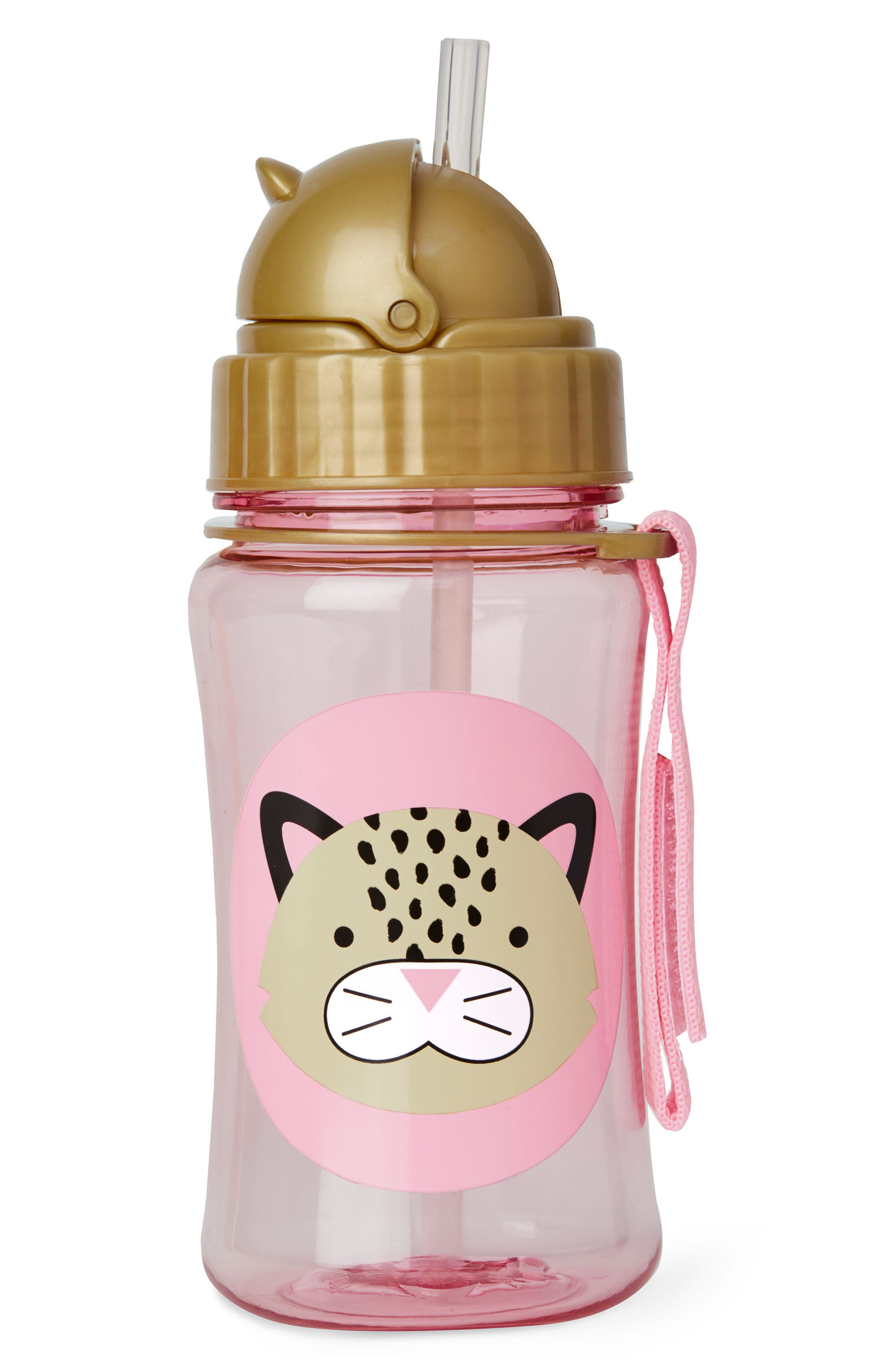 Leopard Zoo Straw Bottle,                             Alternate thumbnail 2, color,                             Brown/ Pink