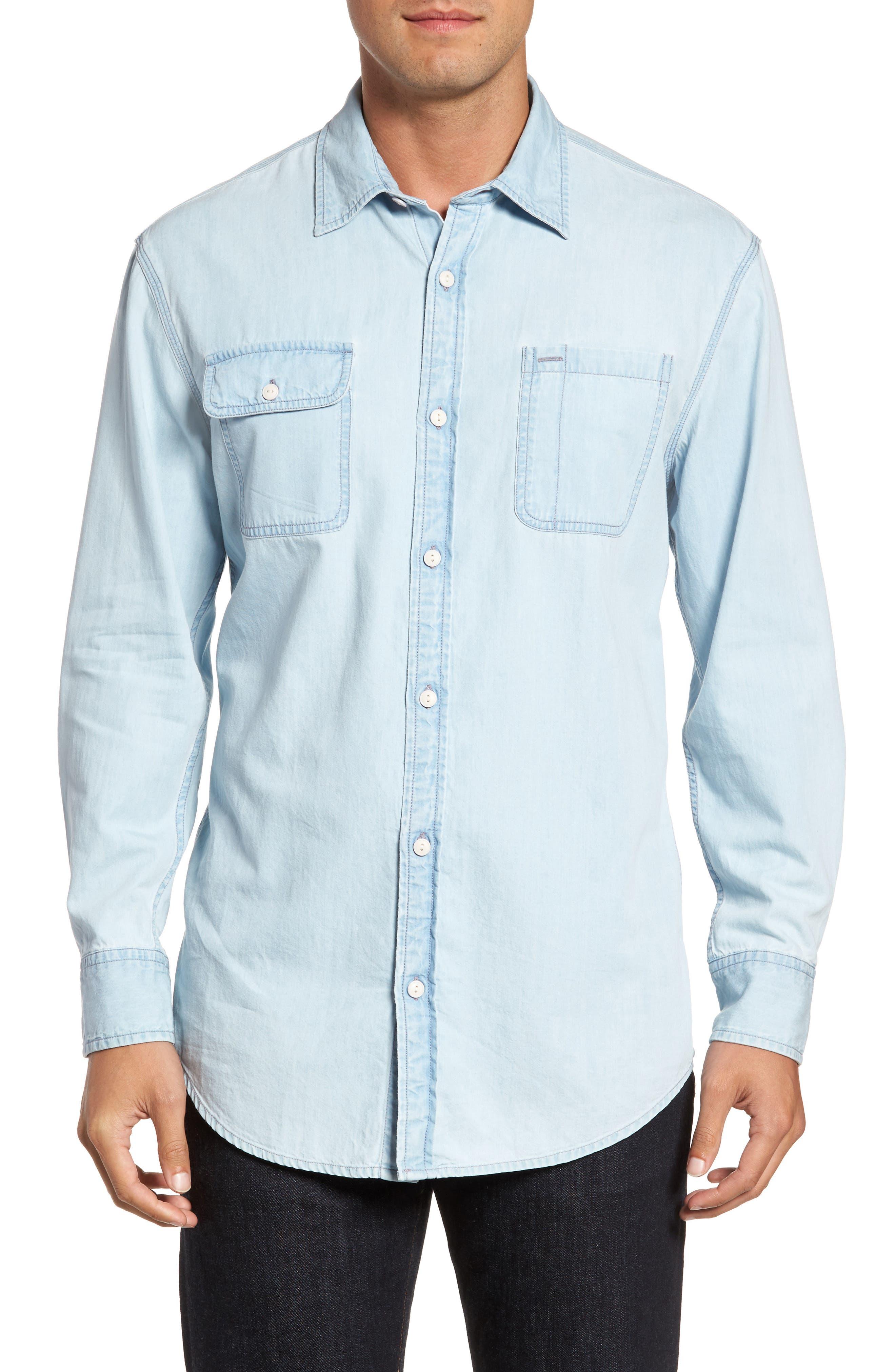 Regular Denim Sport Shirt,                             Main thumbnail 1, color,                             Light Blue