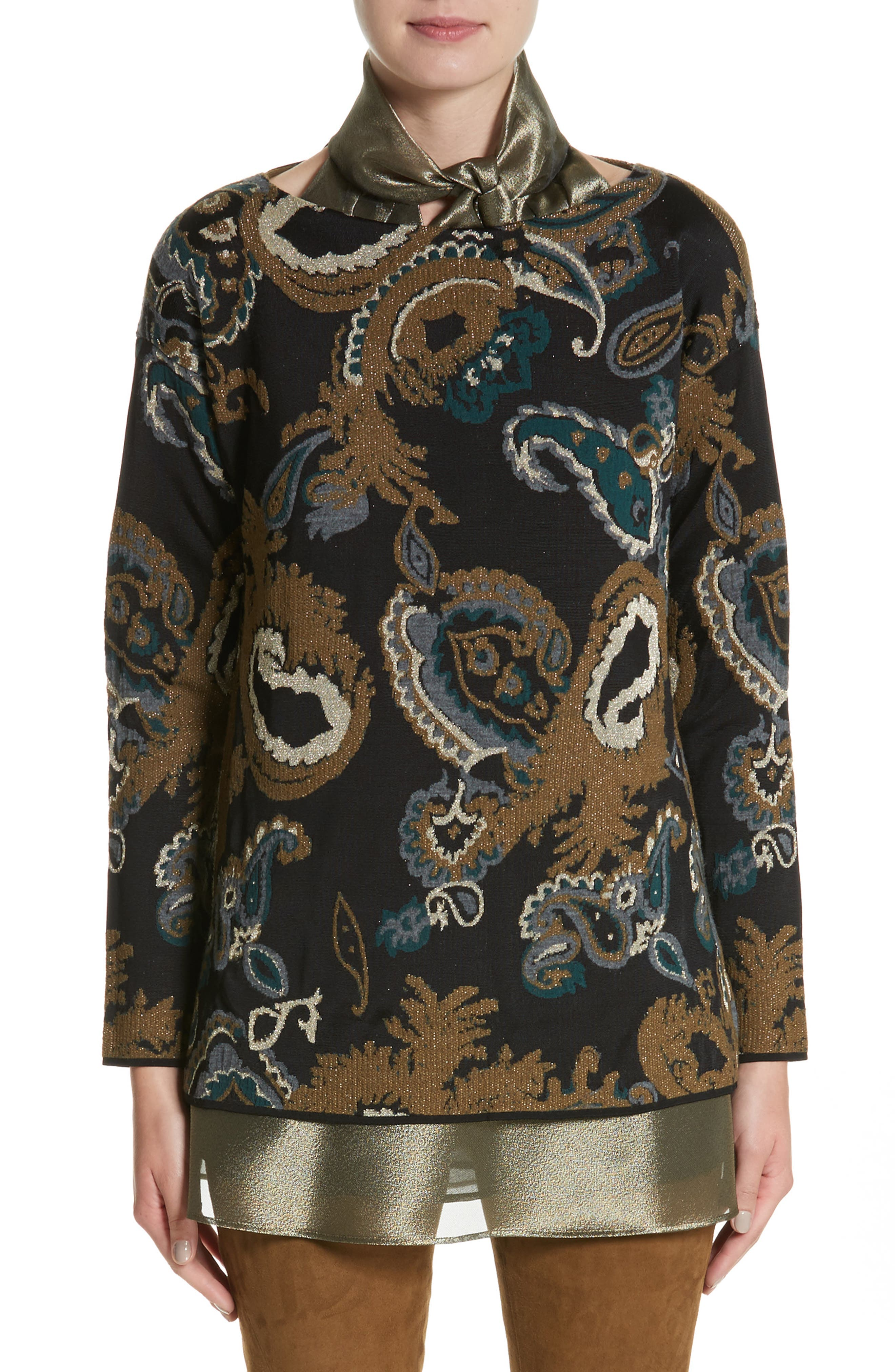 Main Image - Lafayette 148 New York Paisley Jacquard Sweater