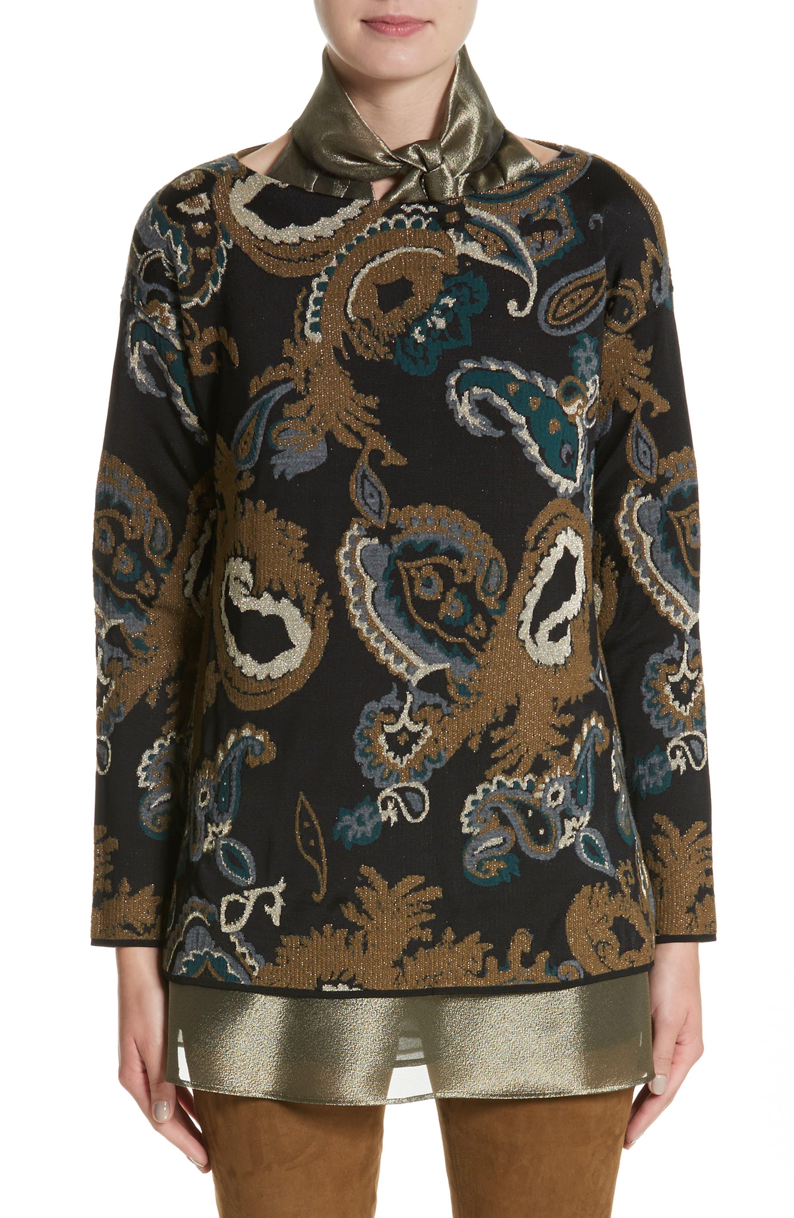Paisley Jacquard Sweater,                         Main,                         color, Black Multi