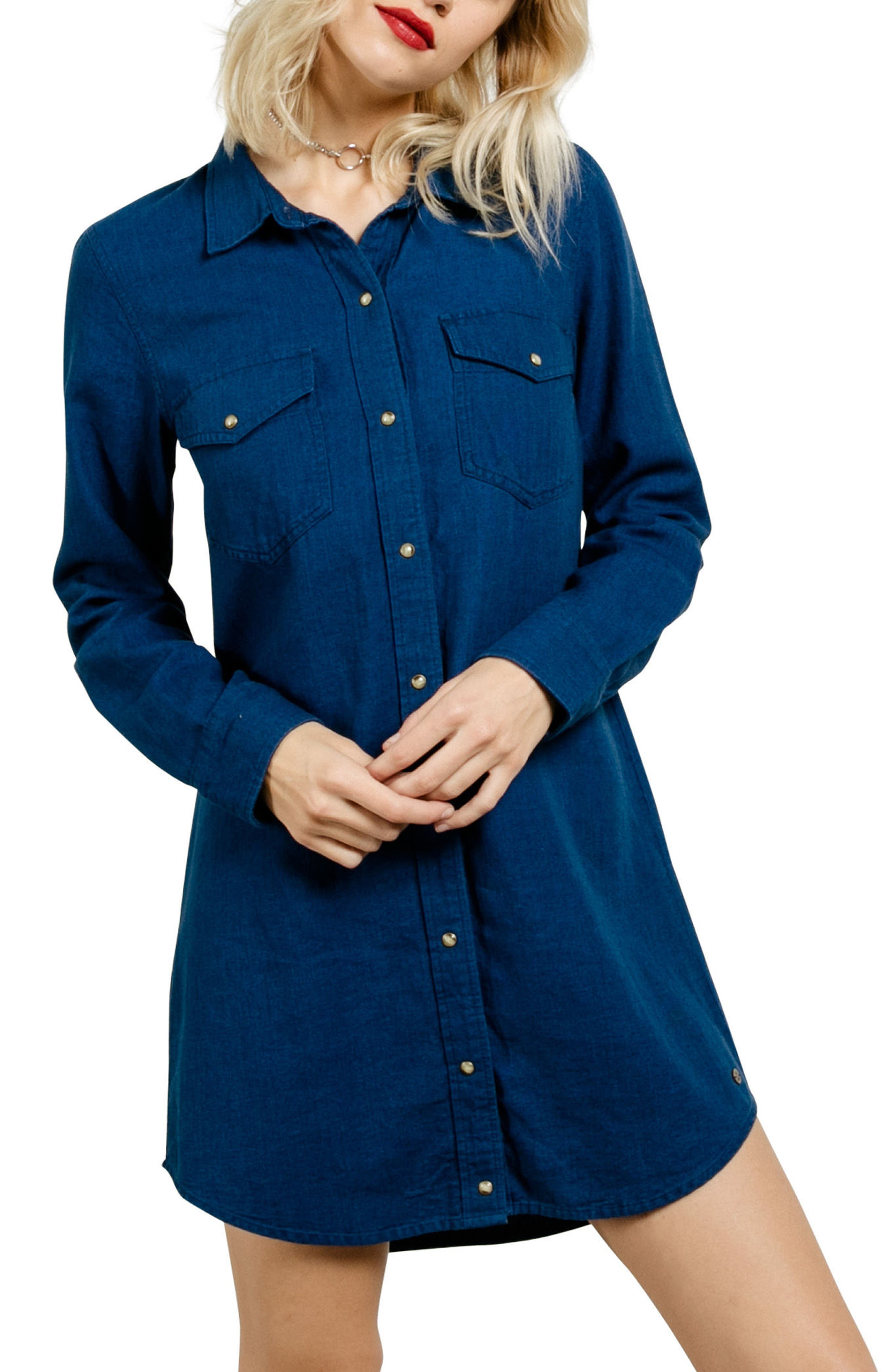 Cham Jam Chambray Shirtdress,                             Main thumbnail 1, color,                             Blue