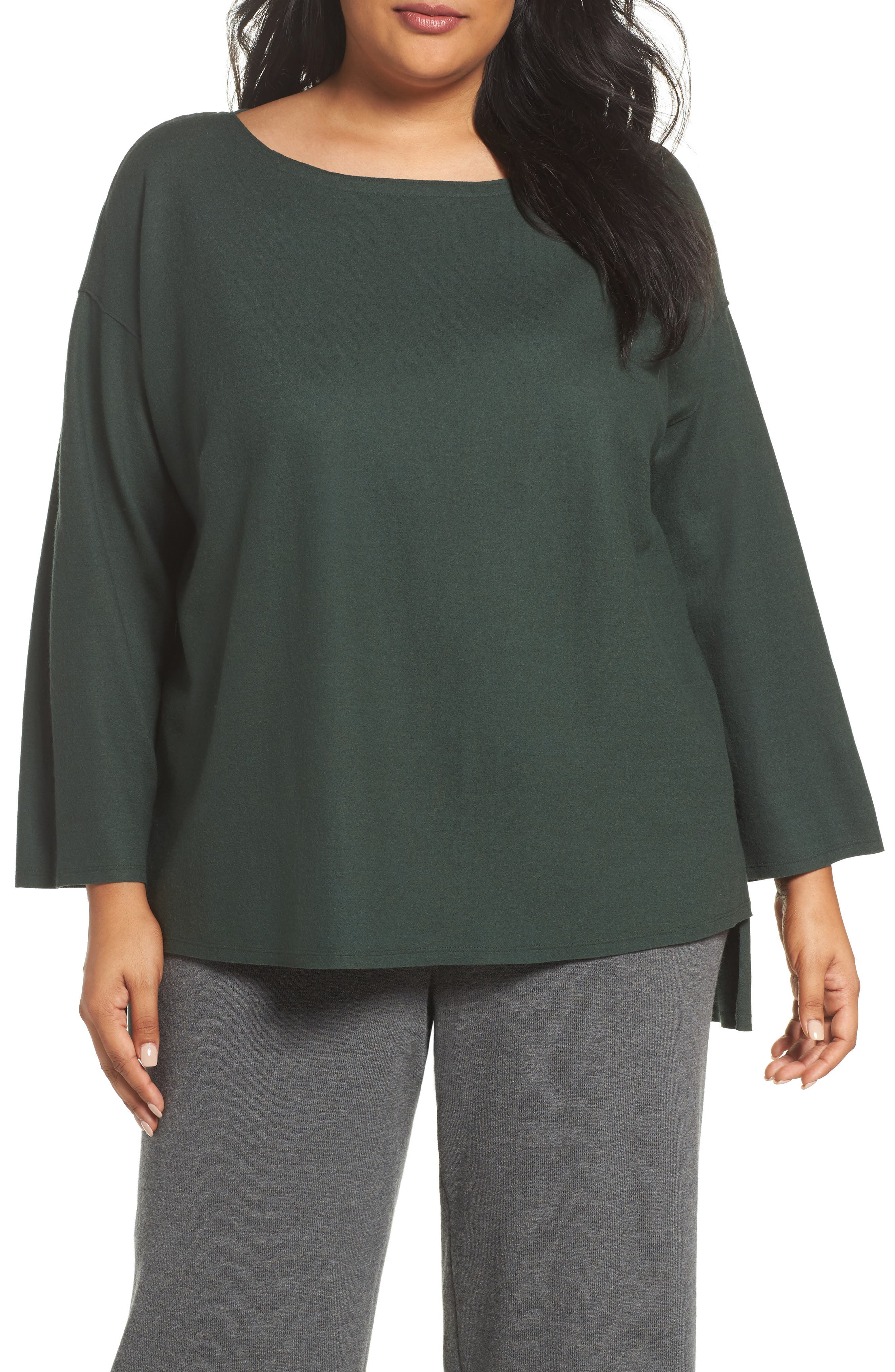 Eileen Fisher Boiled Wool Jersey Sweater (Plus Size)