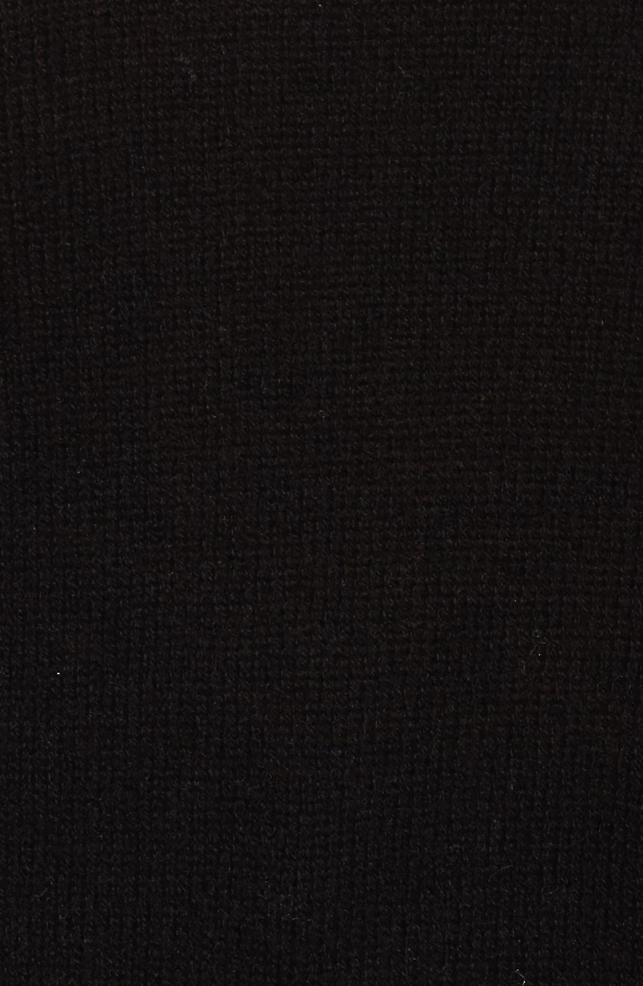 Crewneck Side Split Wool & Cashmere Pullover,                             Alternate thumbnail 5, color,                             Black