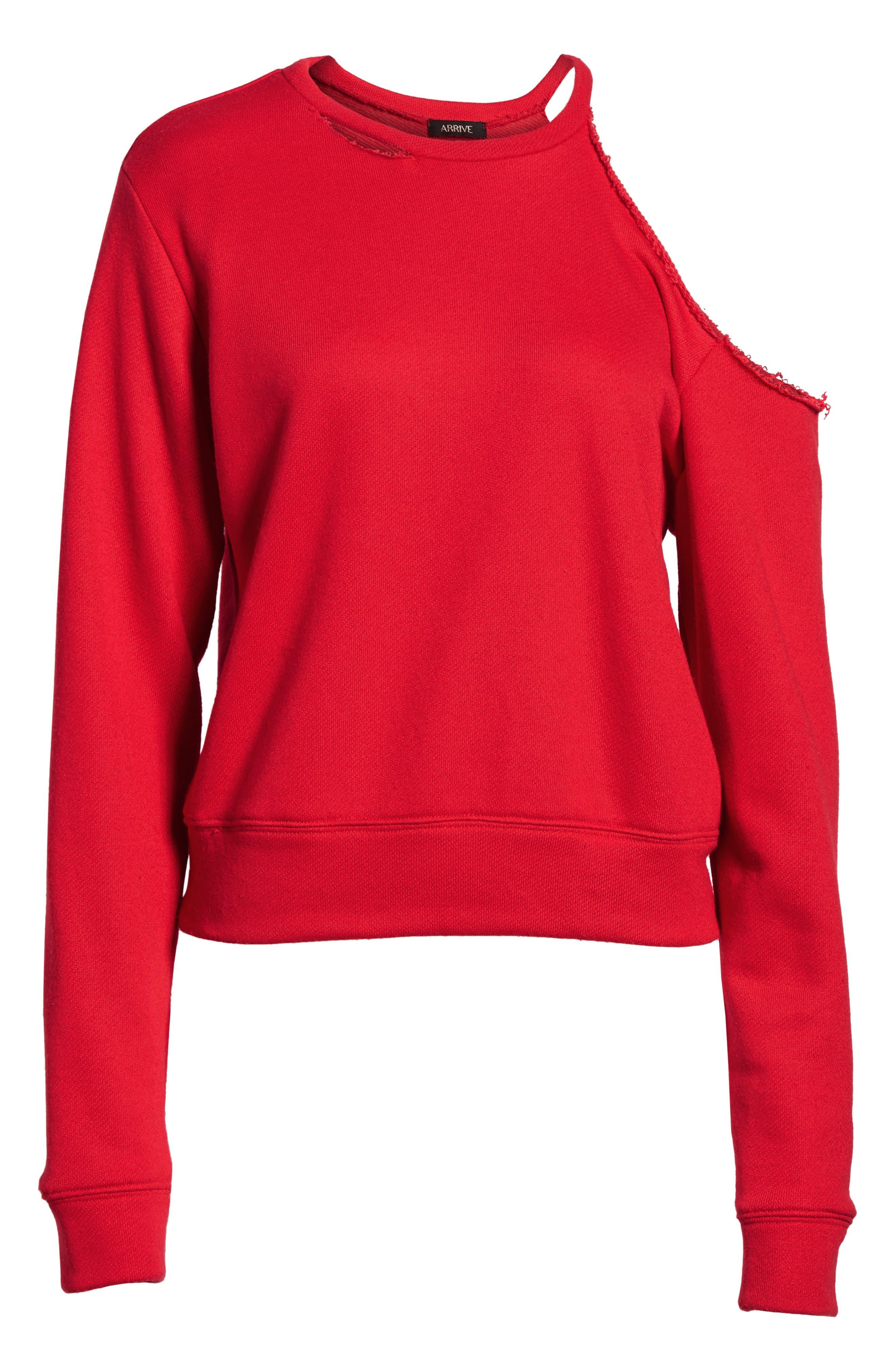 Alternate Image 6  - AFRM Mikko Distressed Cold Shoulder Sweatshirt