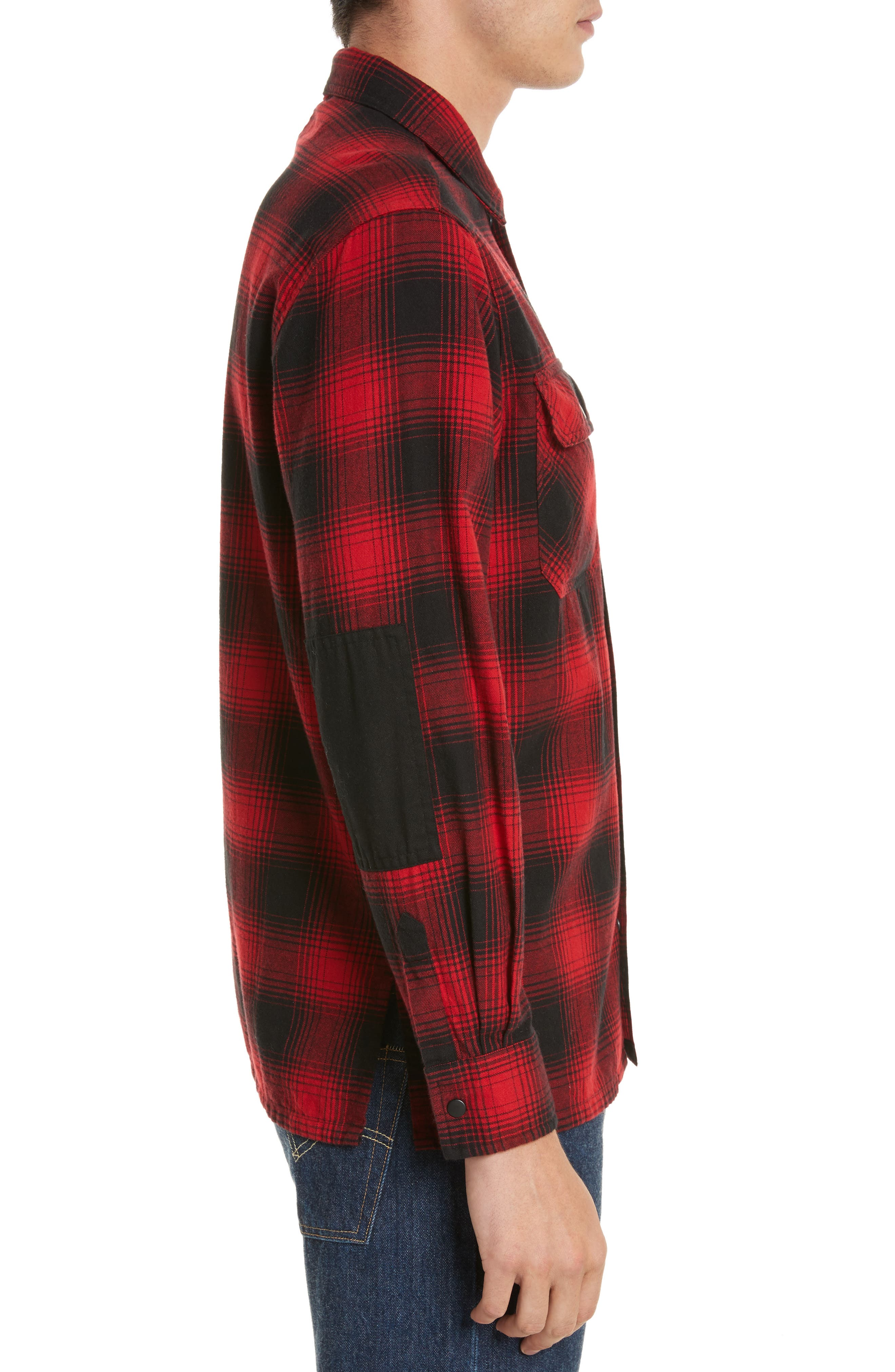 Plaid Flannel Shirt,                             Alternate thumbnail 3, color,                             Red Plaid