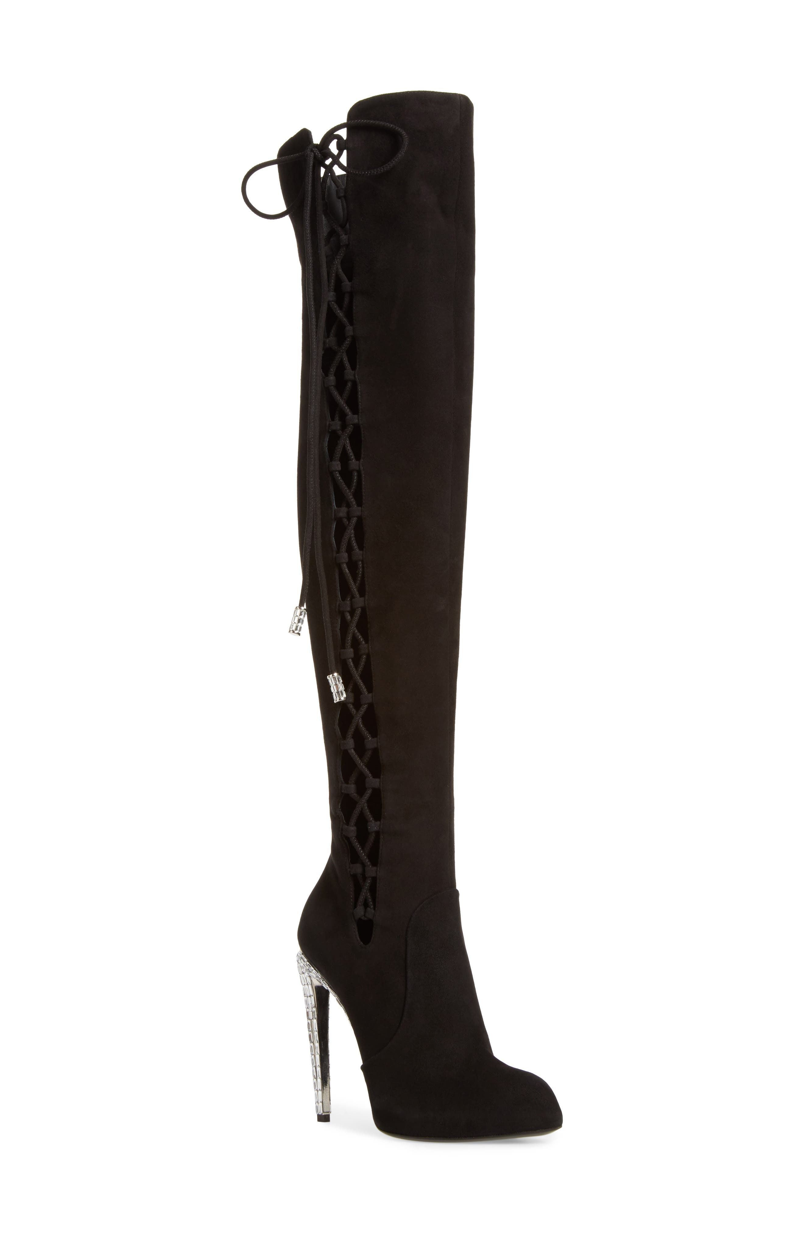 Giuseppe for Jennifer Lopez Lace-Up Over the Knee Boot,                         Main,                         color, Black