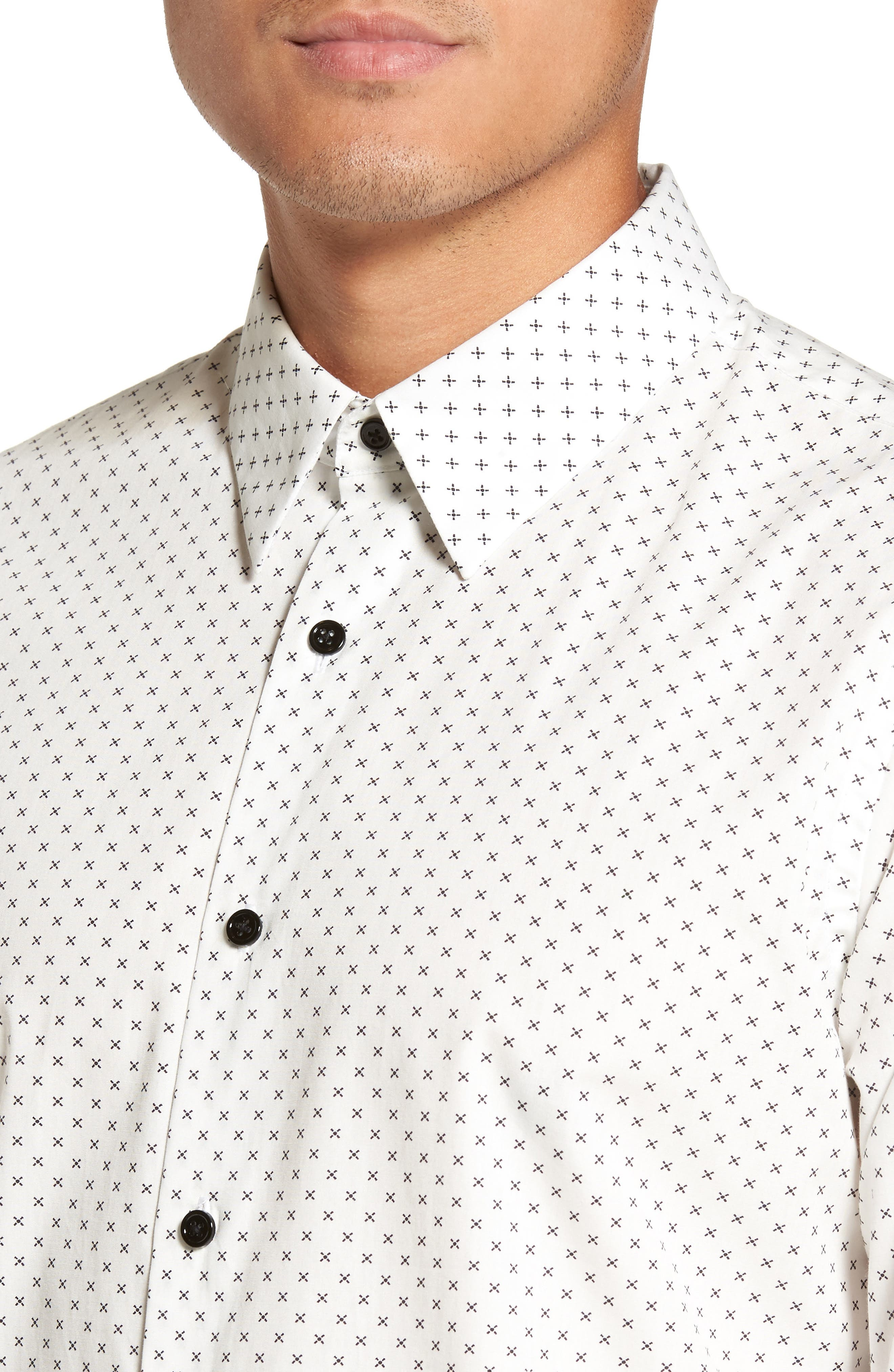 Stitch Print Sport Shirt,                             Alternate thumbnail 4, color,                             Ivory Multi