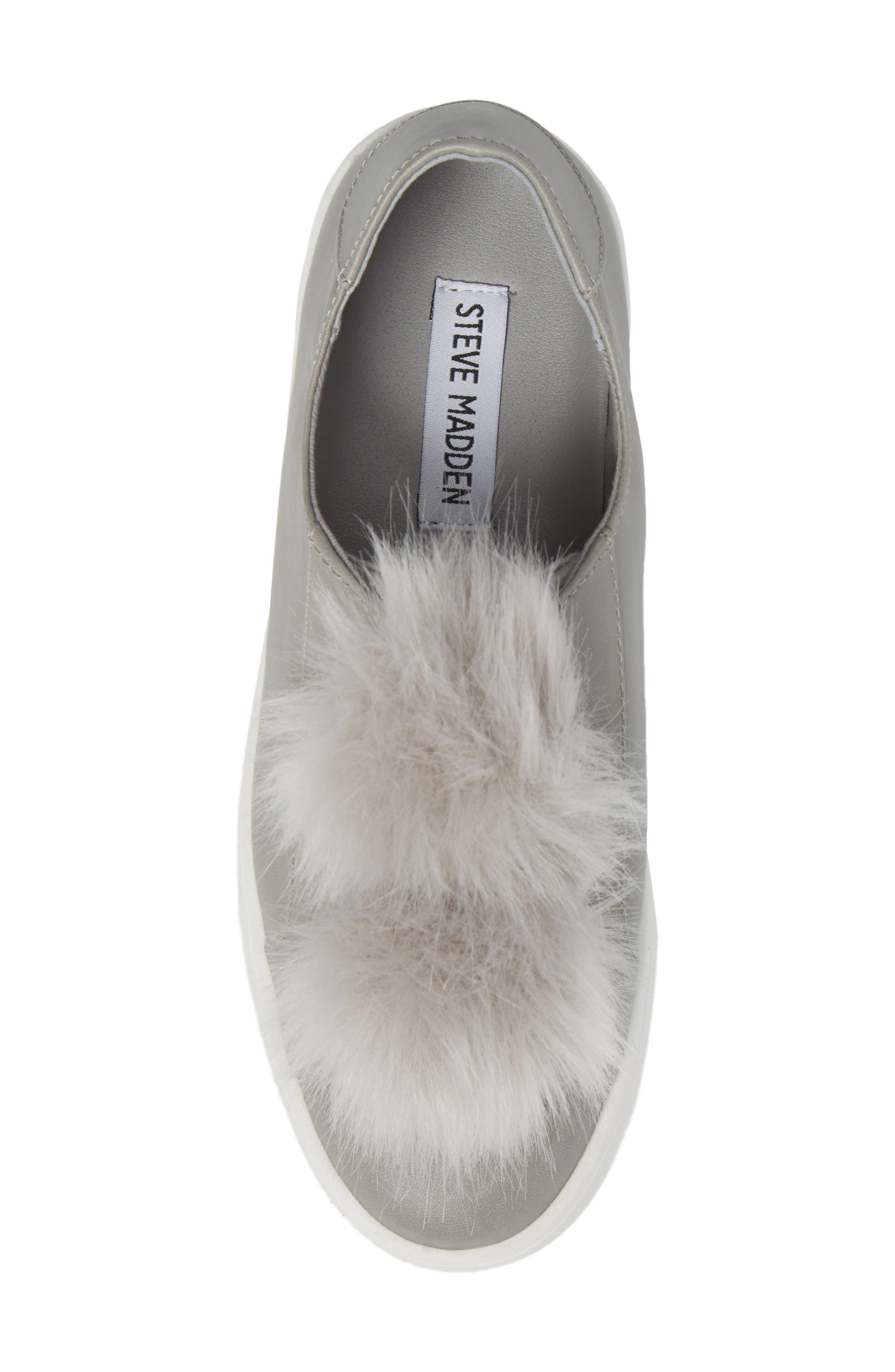 Breeze Faux Fur Pom Sneaker,                             Alternate thumbnail 5, color,                             Grey
