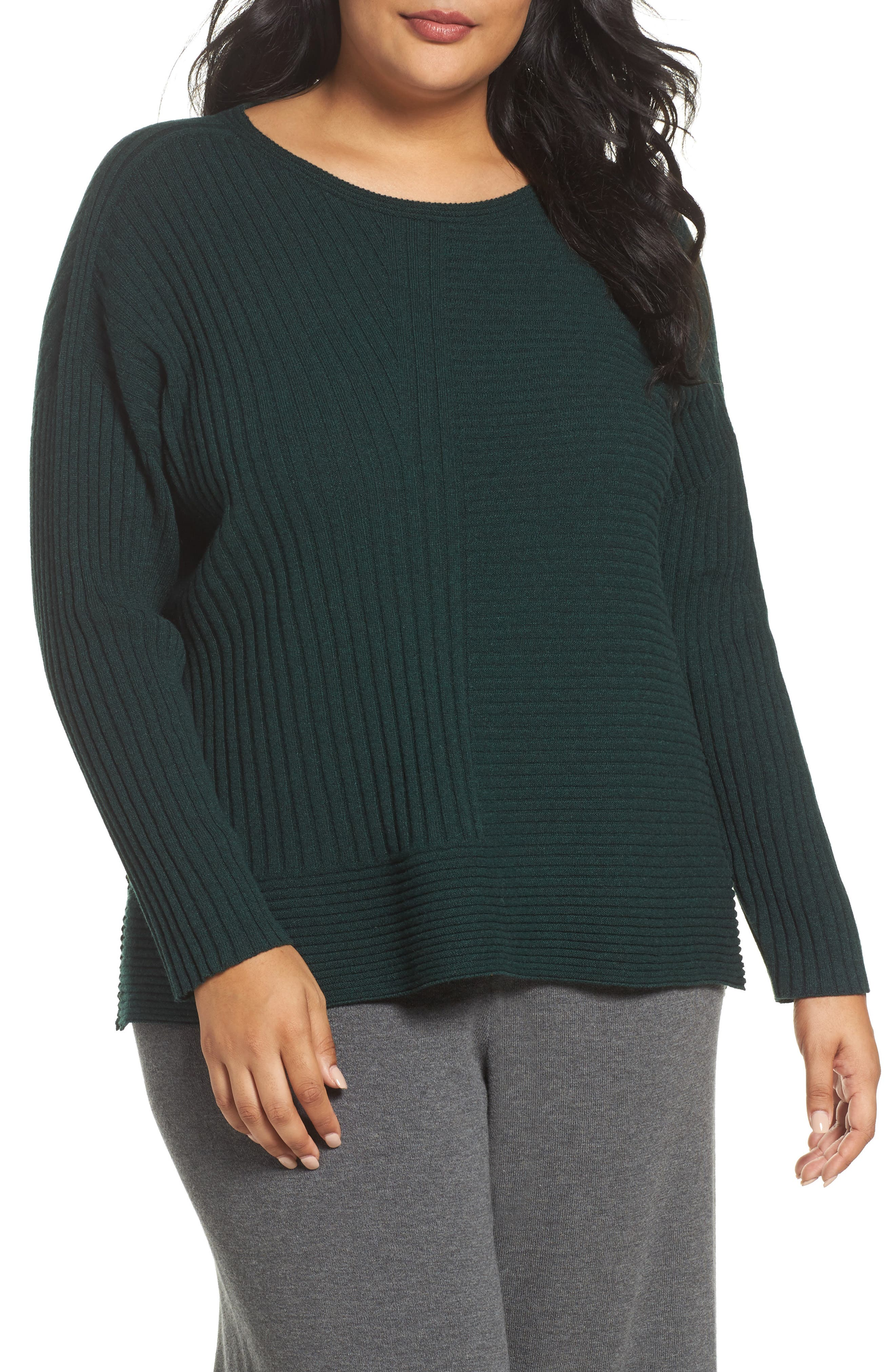 Main Image - Eileen Fisher Ribbed Cashmere Sweater (Plus Size)
