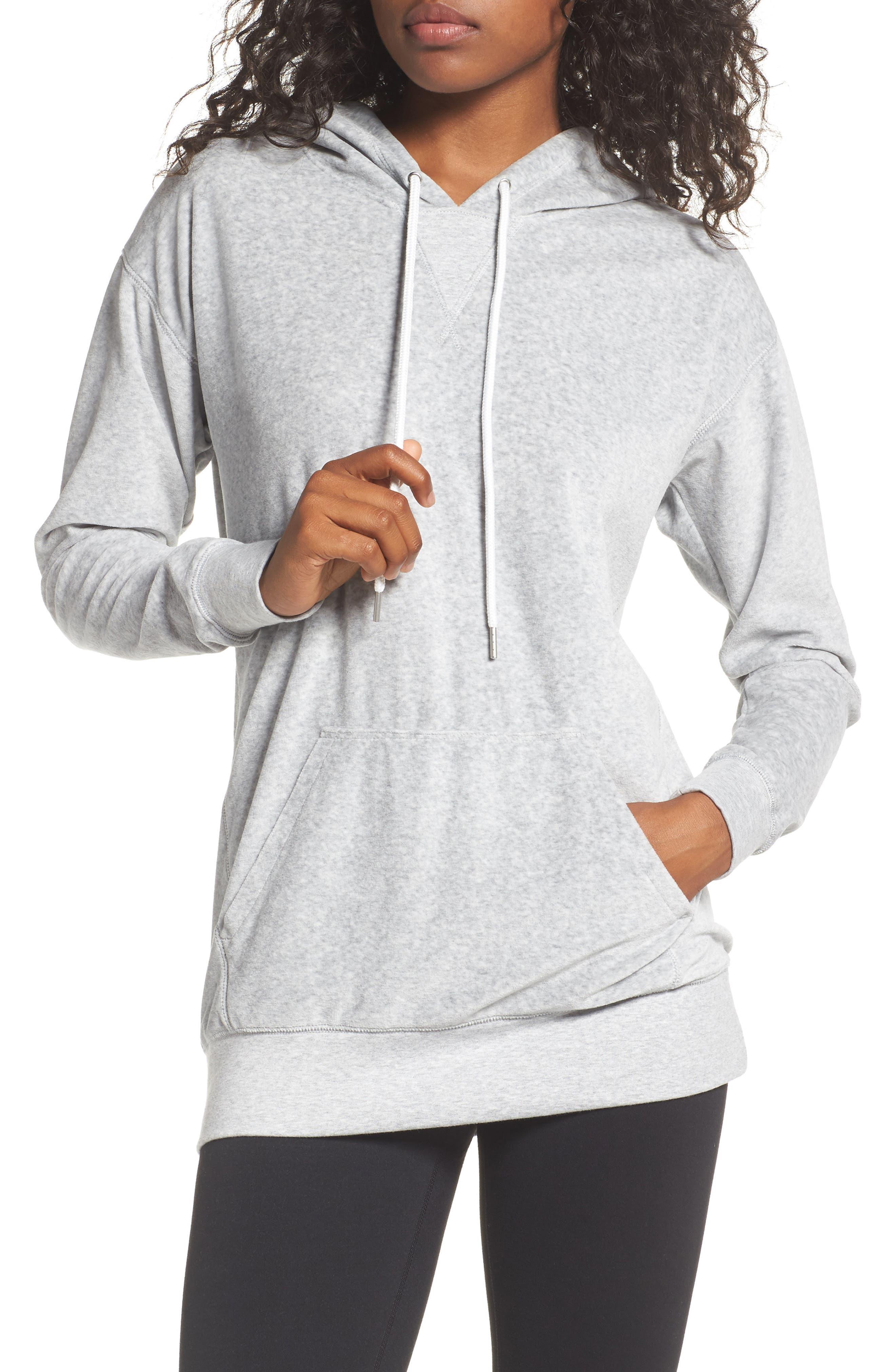 Hashtag Velour Tunic Hoodie,                         Main,                         color, Grey Light Heather
