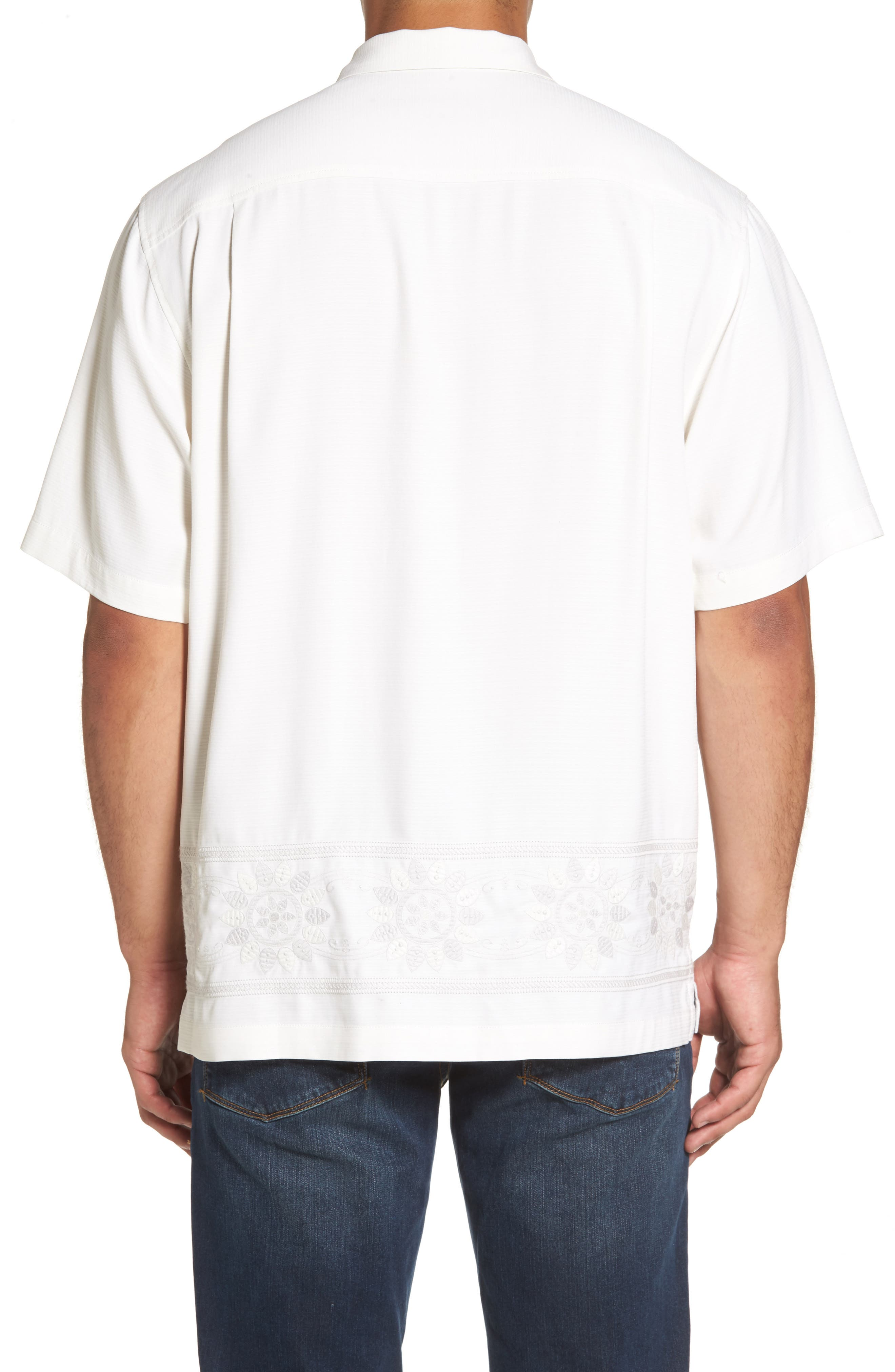 Alternate Image 2  - Tommy Bahama Tangier Tiles Embroidered Silk Woven Shirt