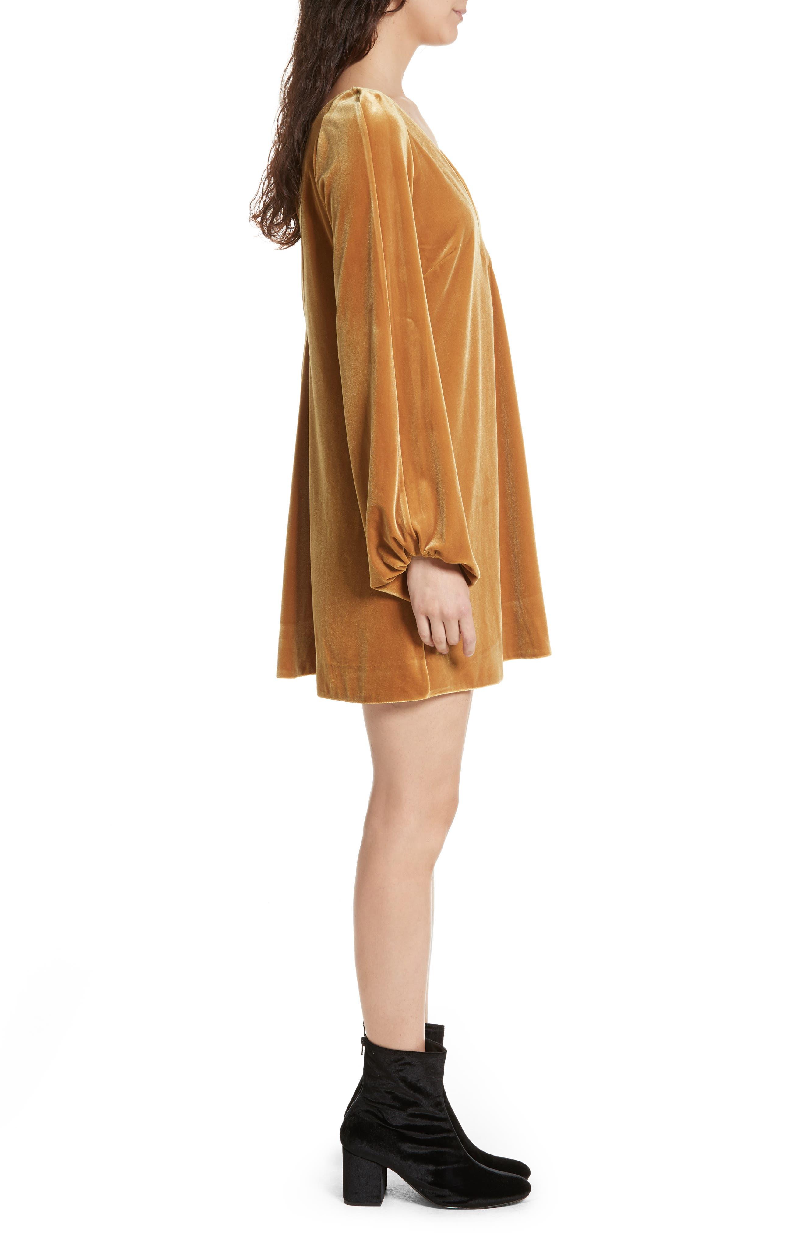 Misha Velvet Minidress,                             Alternate thumbnail 3, color,                             Gold