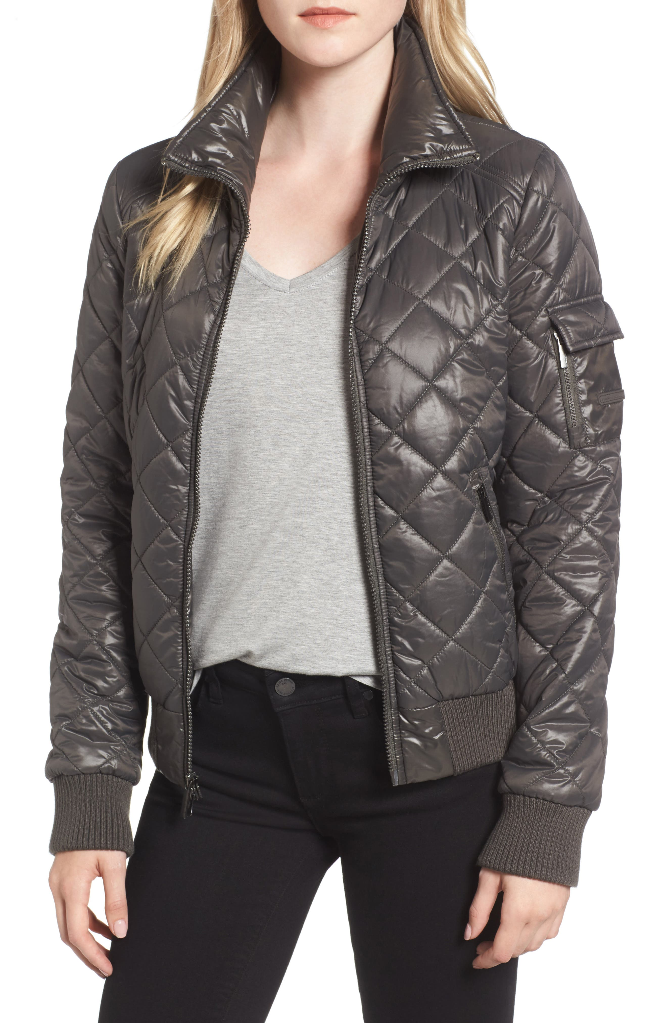 Quilted Bomber Jacket,                         Main,                         color, Grey
