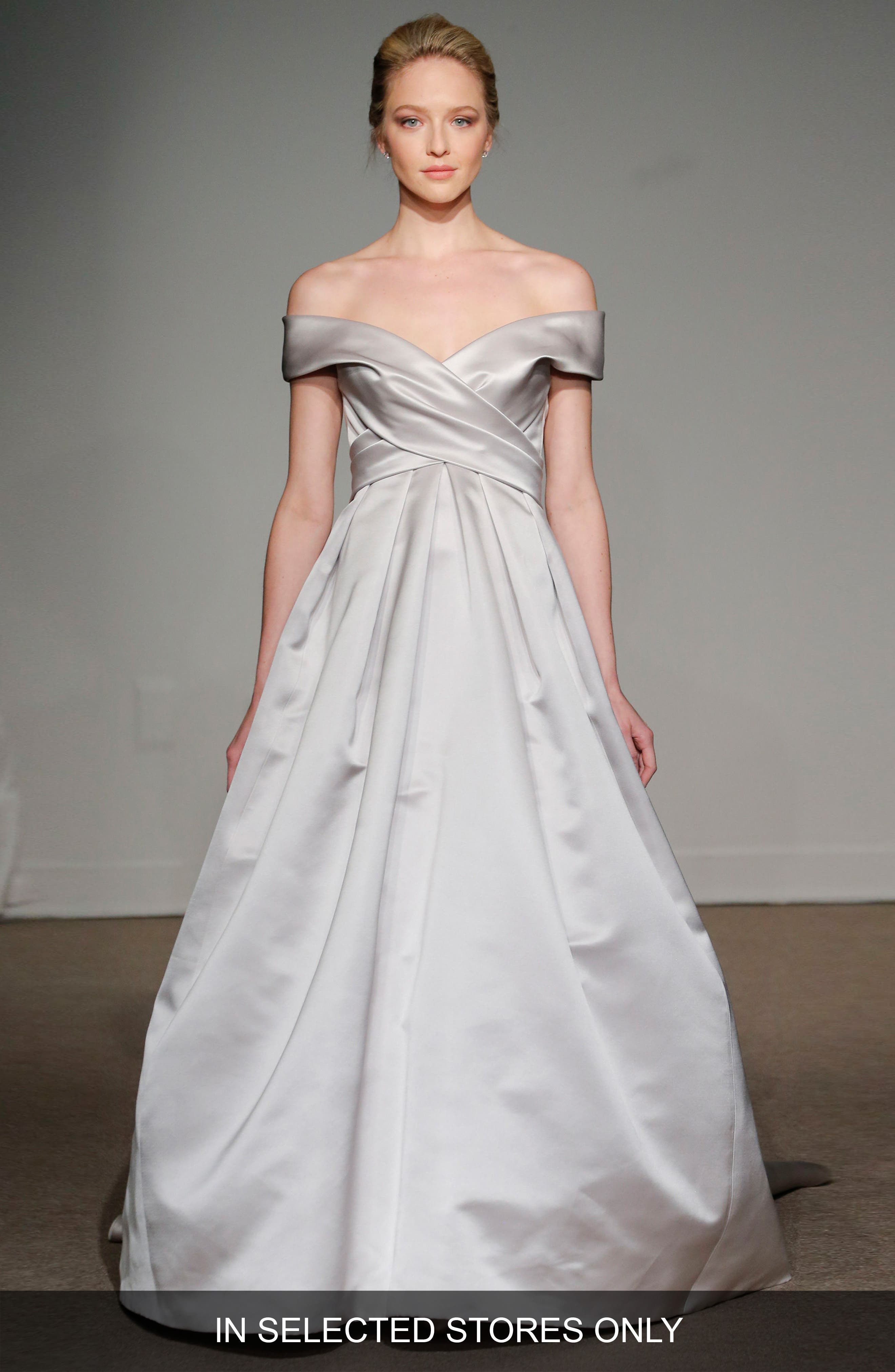 Elizabeth Off the Shoulder Silk Gown,                         Main,                         color, Soft White