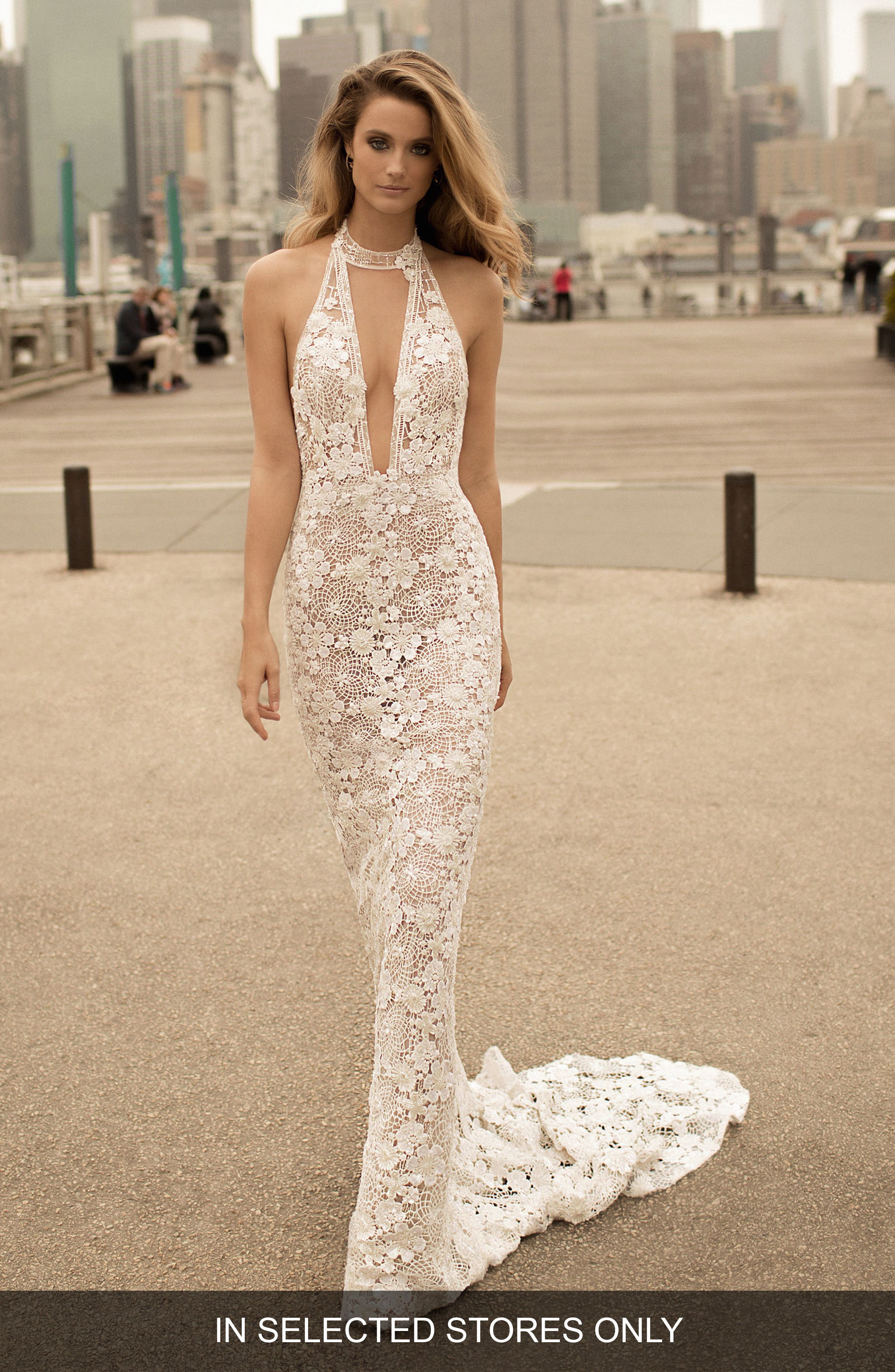 BERTA Choker-Neck Lace Mermaid Gown in Ivory