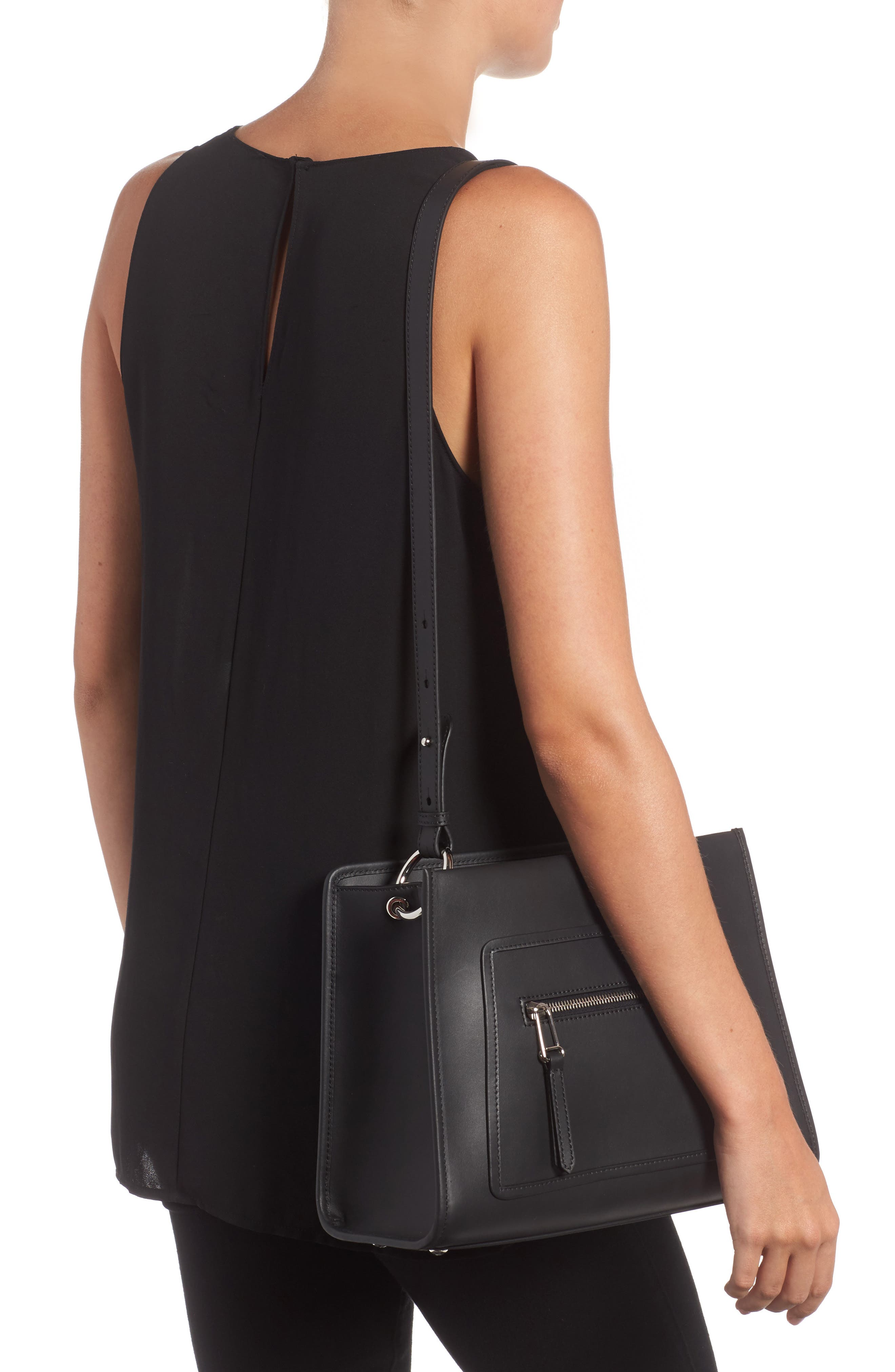 Small Runaway Calfskin Leather Tote,                             Alternate thumbnail 2, color,                             Black