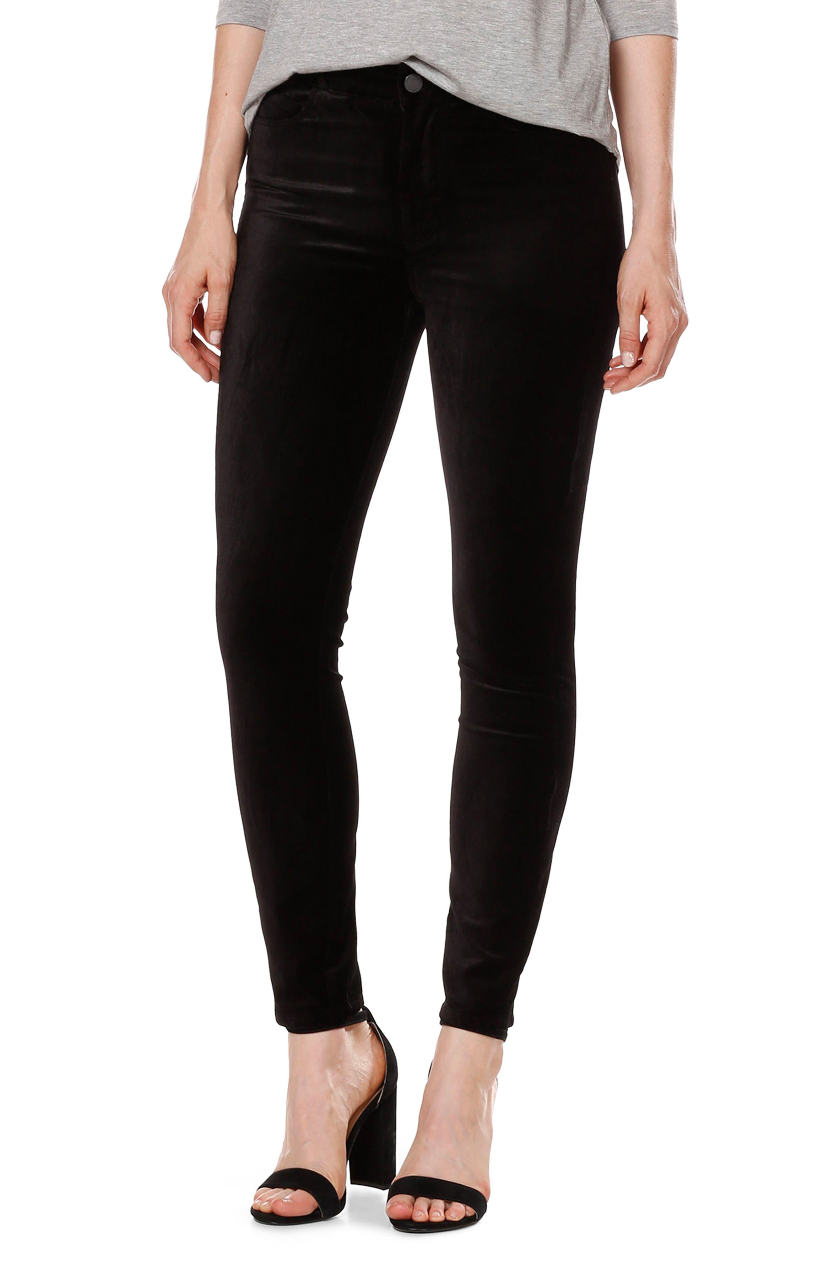 Hoxton Velvet Ankle Skinny Jeans,                         Main,                         color, Black Velvet