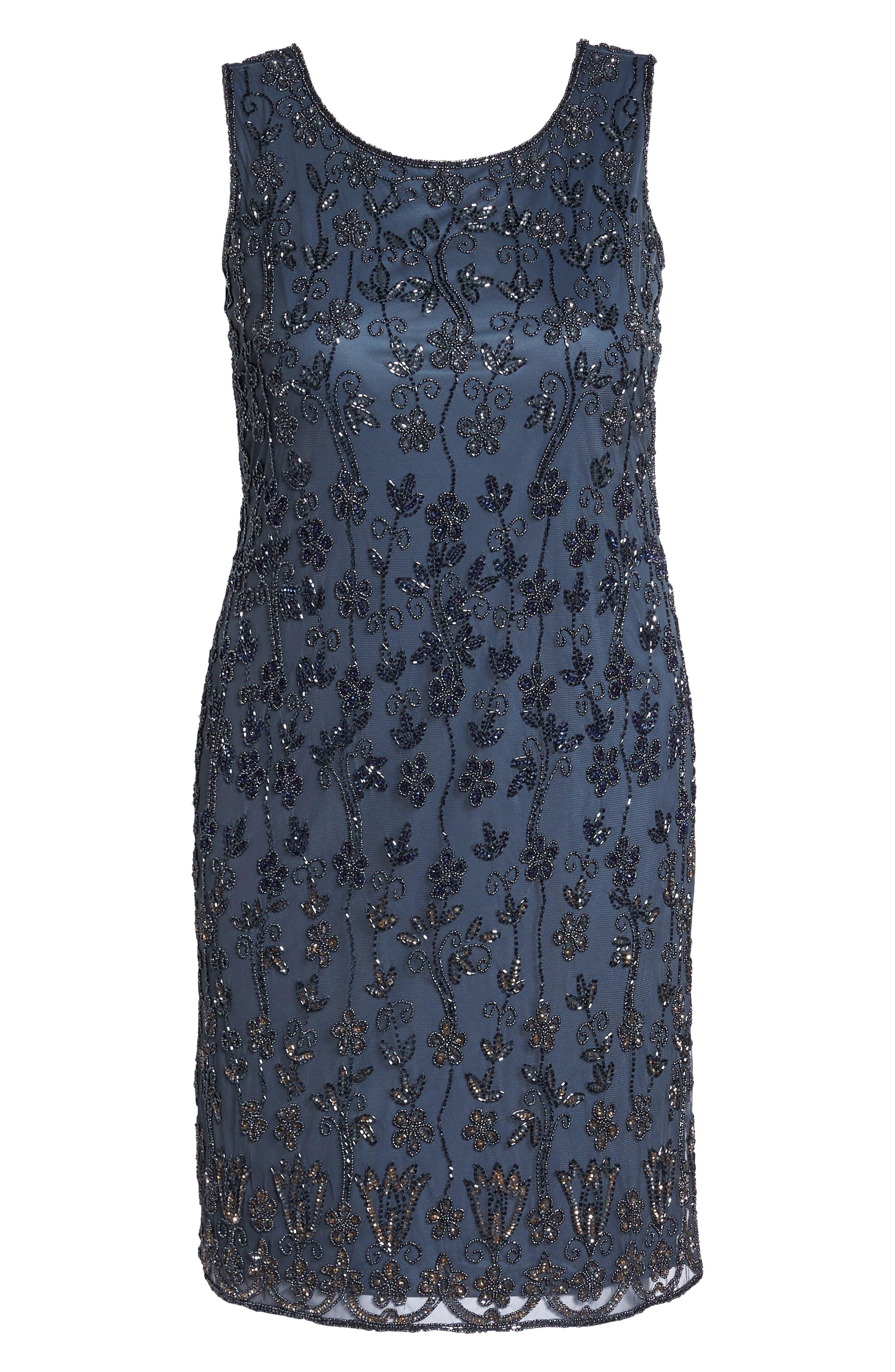 Embellished Mesh Sheath Dress,                             Alternate thumbnail 6, color,                             New Grey