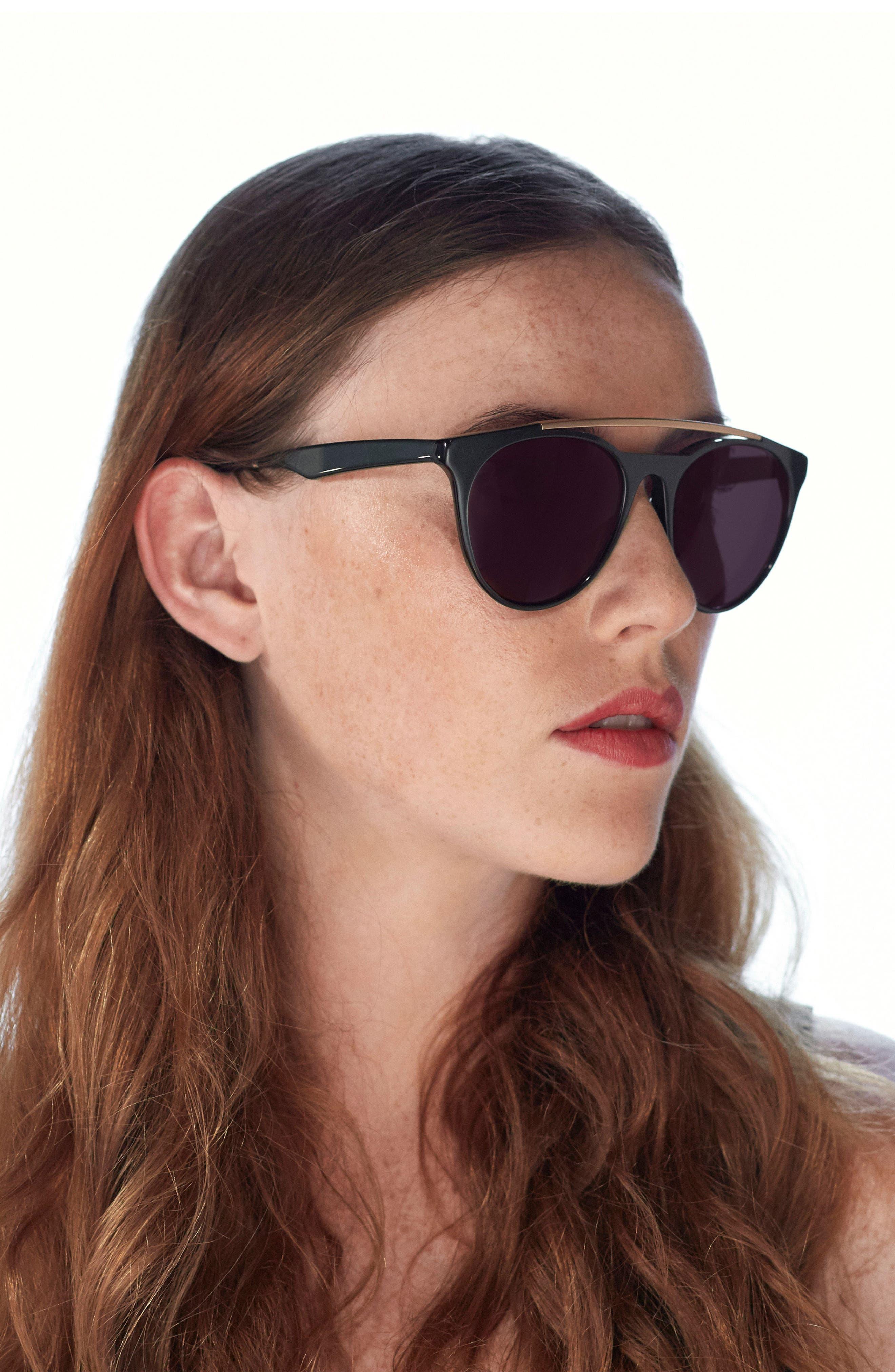 Sugarman 52mm Round Sunglasses,                             Alternate thumbnail 2, color,                             Black/ Matte Gold