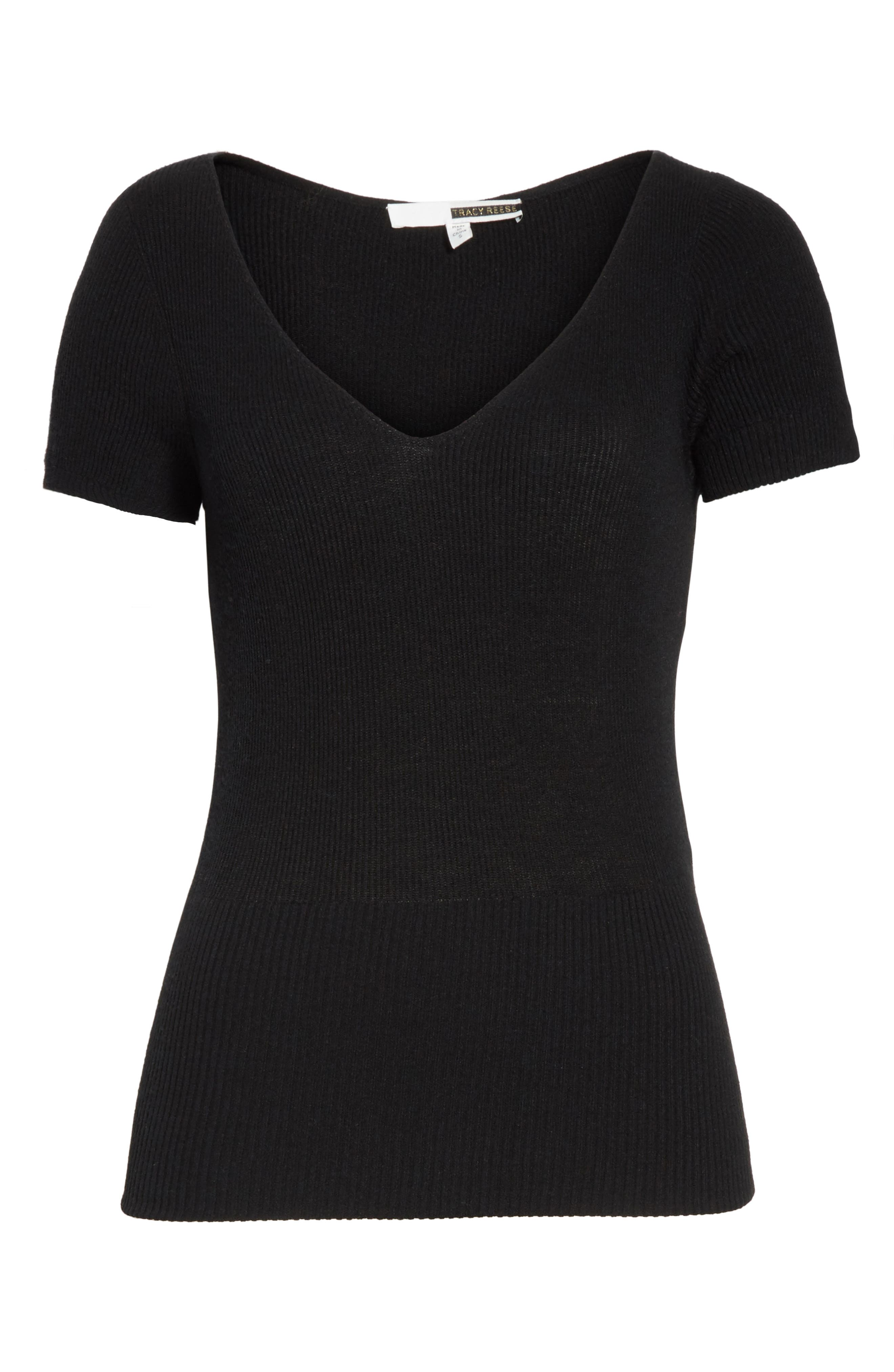 Décolletage Sweater,                             Alternate thumbnail 6, color,                             Black