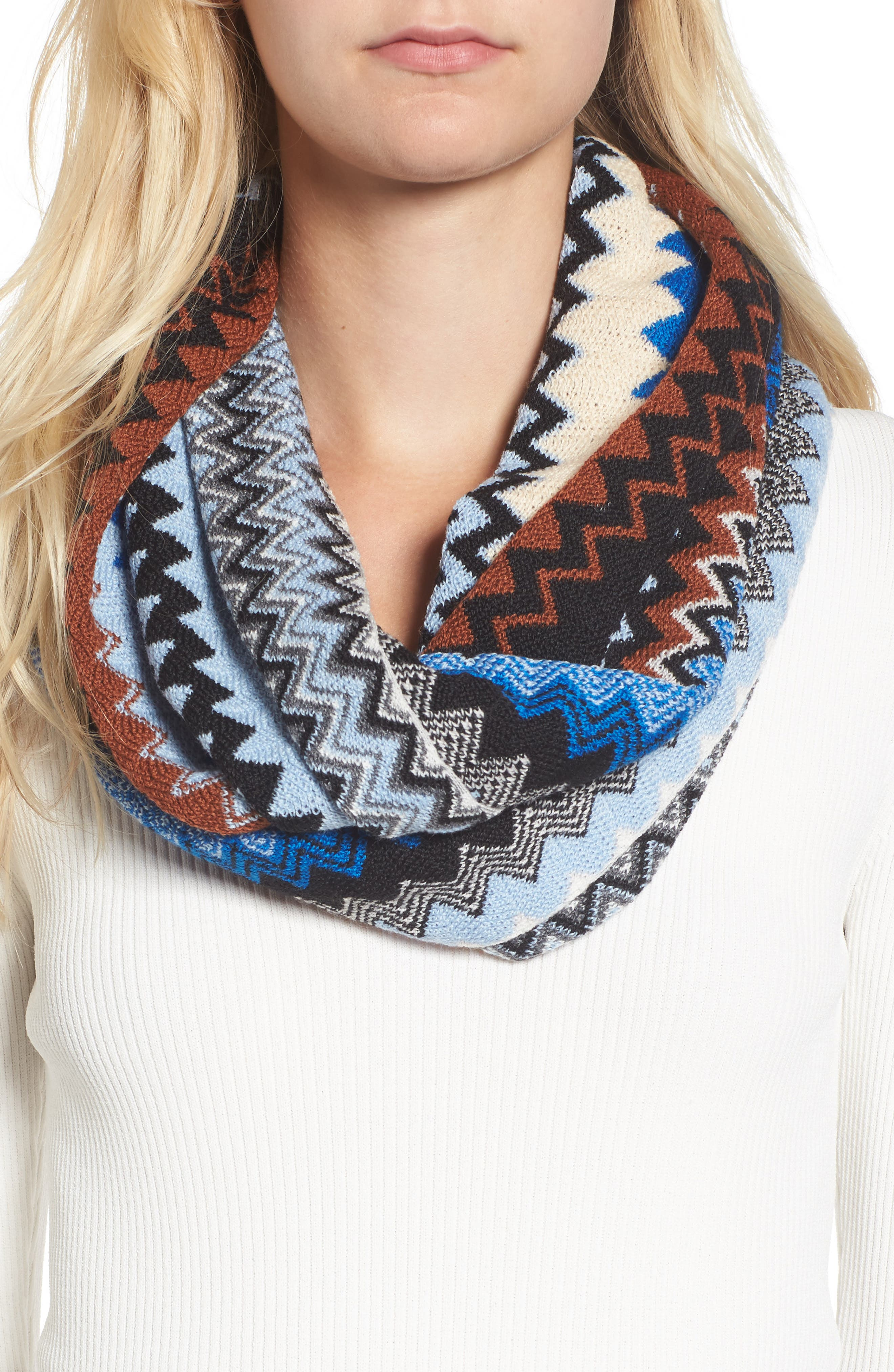 Knit Infinity Scarf,                             Alternate thumbnail 2, color,                             Blue/ Brown