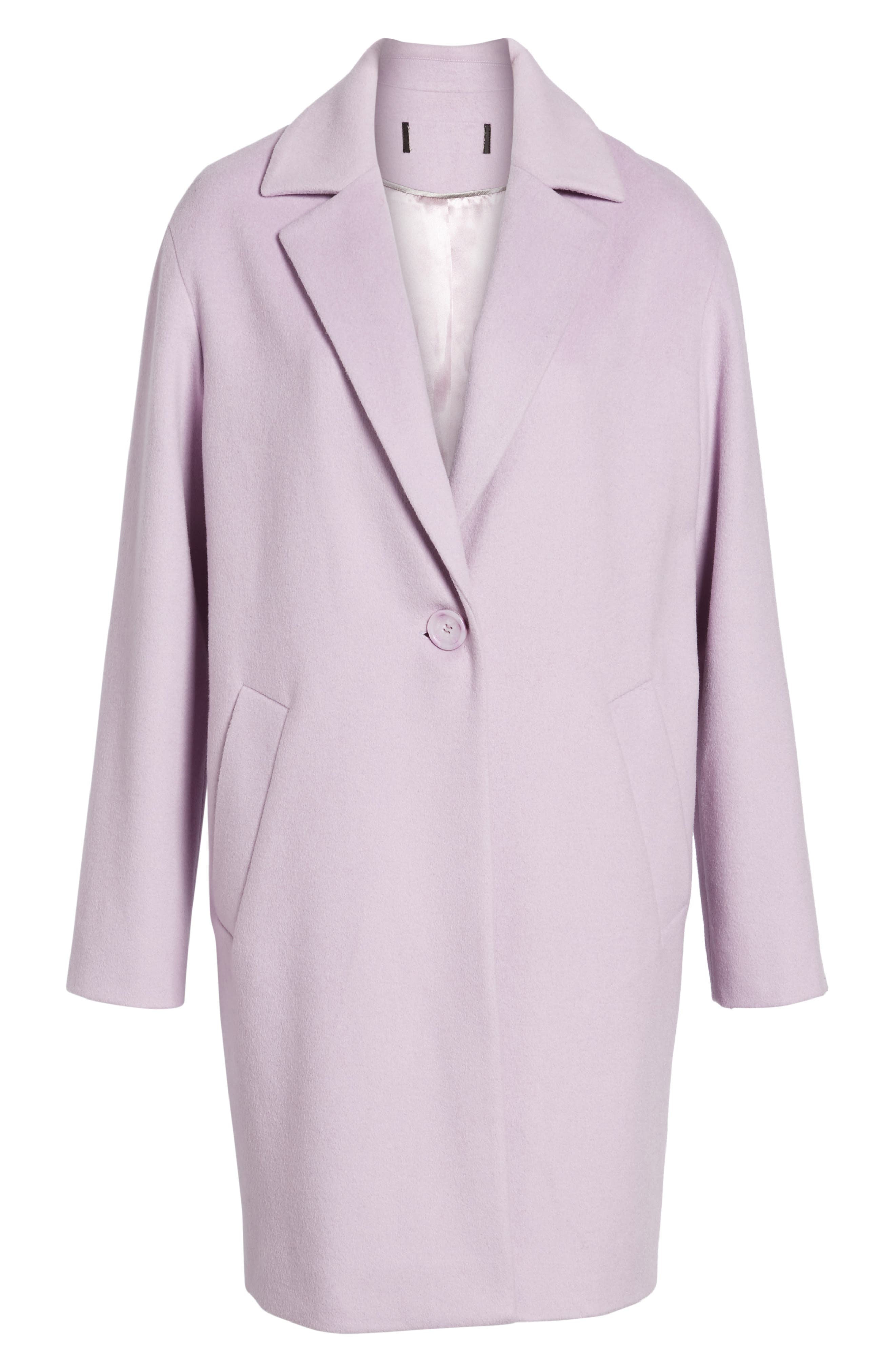 Wool Blend Coat,                             Alternate thumbnail 7, color,                             Icy Lavendar