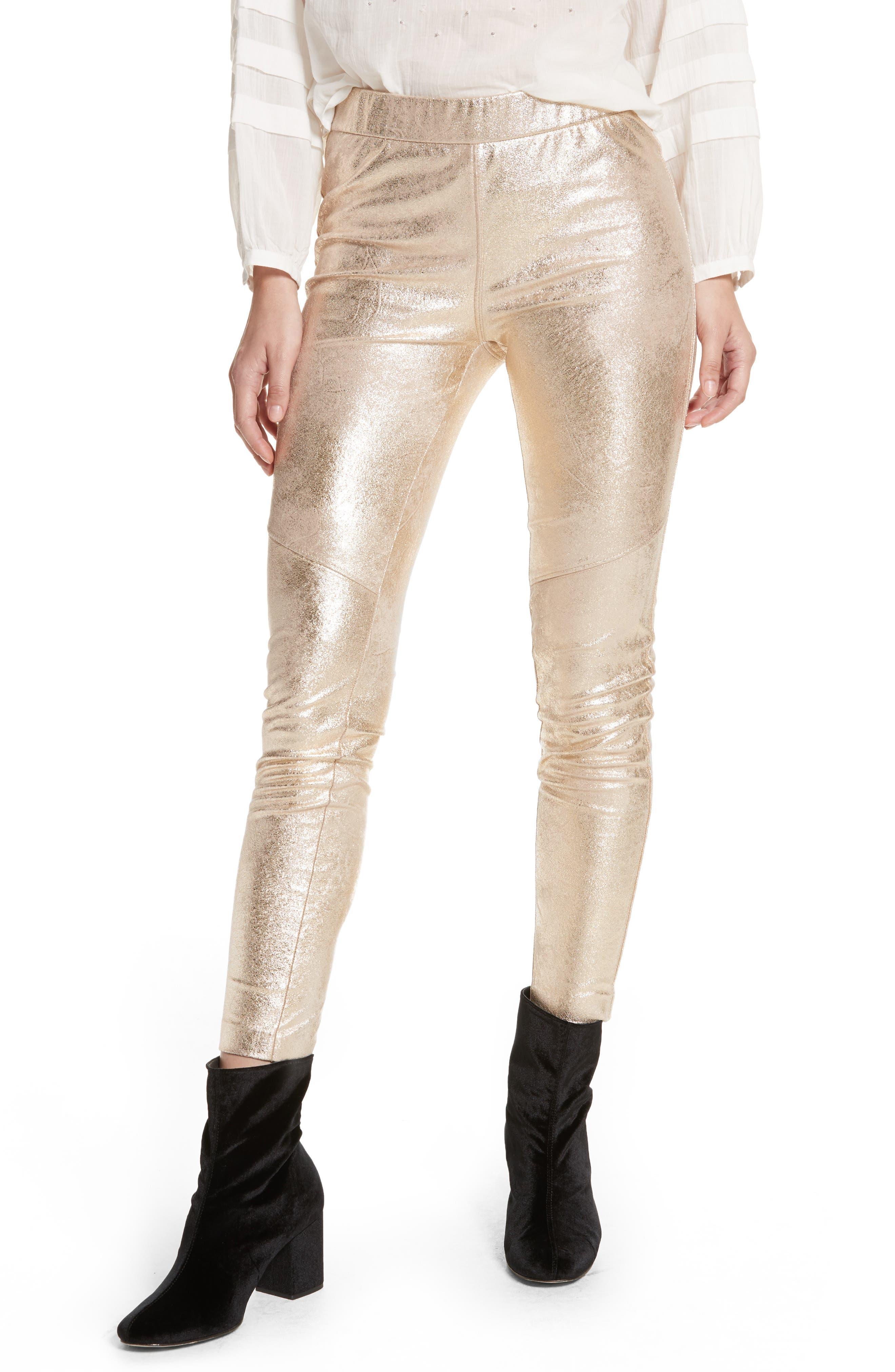 Faux Leather Leggings,                         Main,                         color, Gold