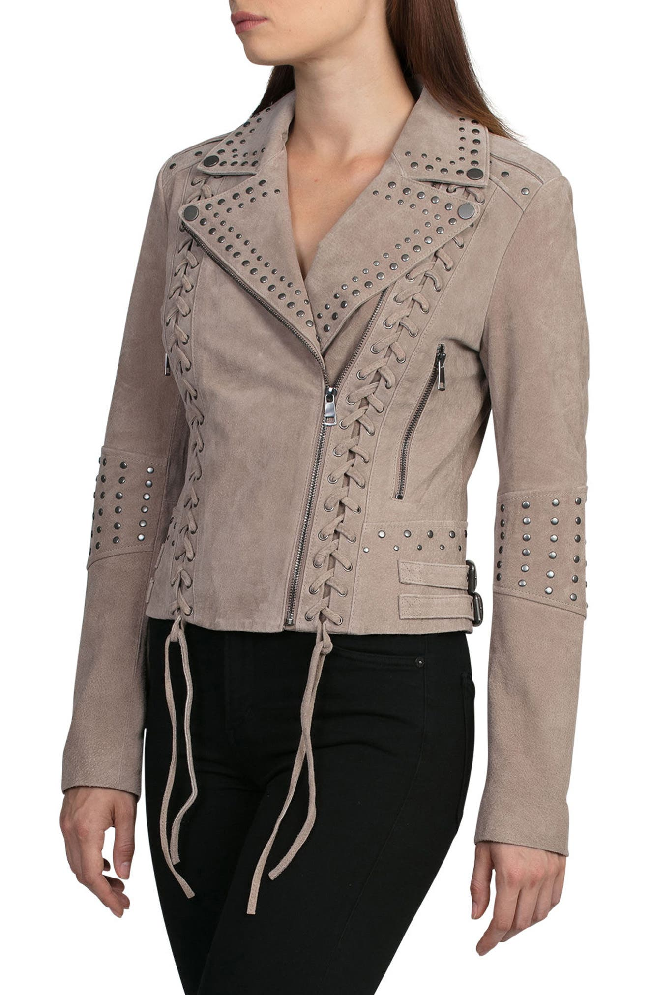 Bagatelle Studded Suede Jacket,                             Alternate thumbnail 3, color,                             Latte