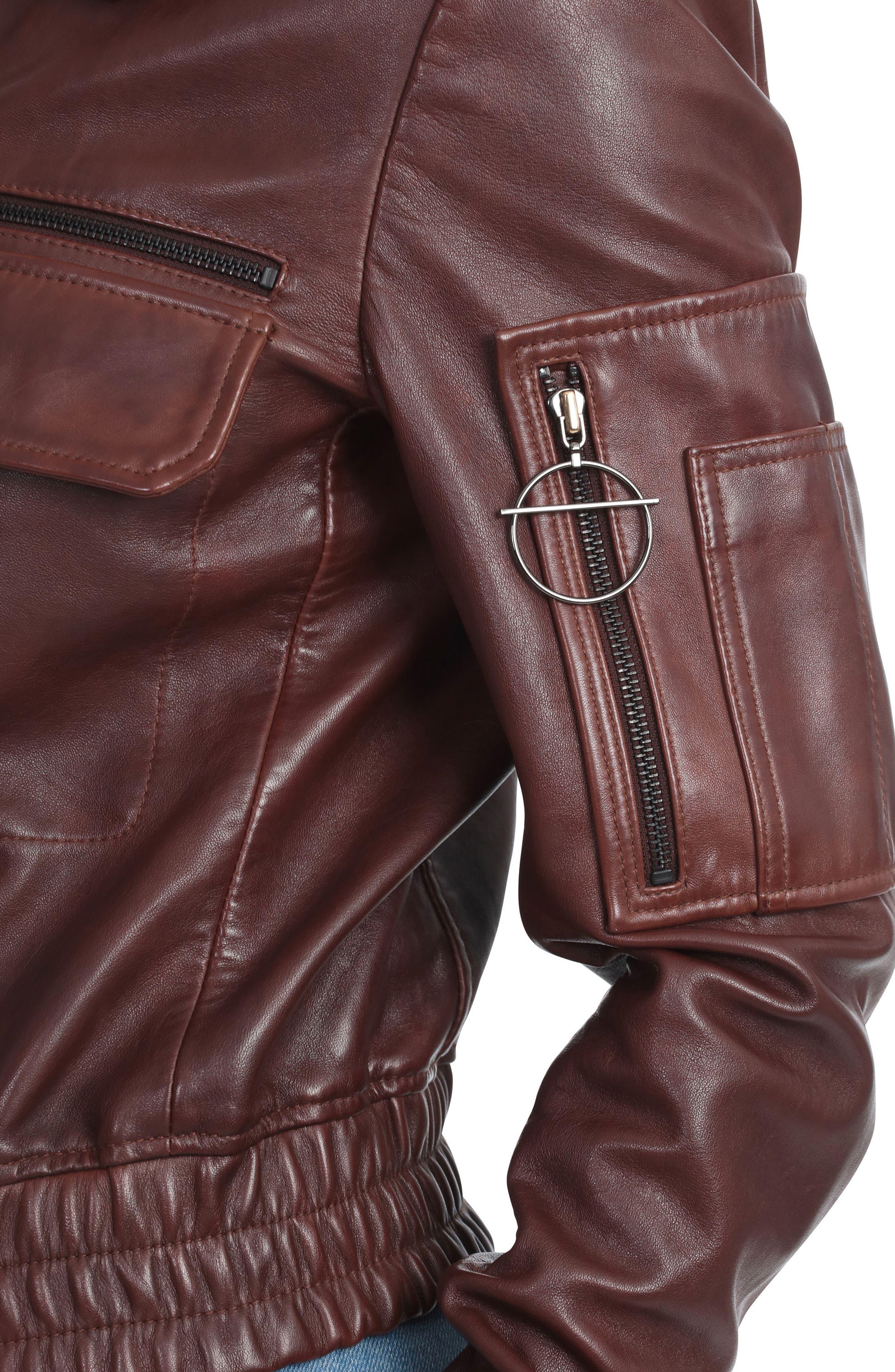 BAGATELLE.CITY The Aviator Leather Jacket,                             Alternate thumbnail 5, color,                             Mahogany