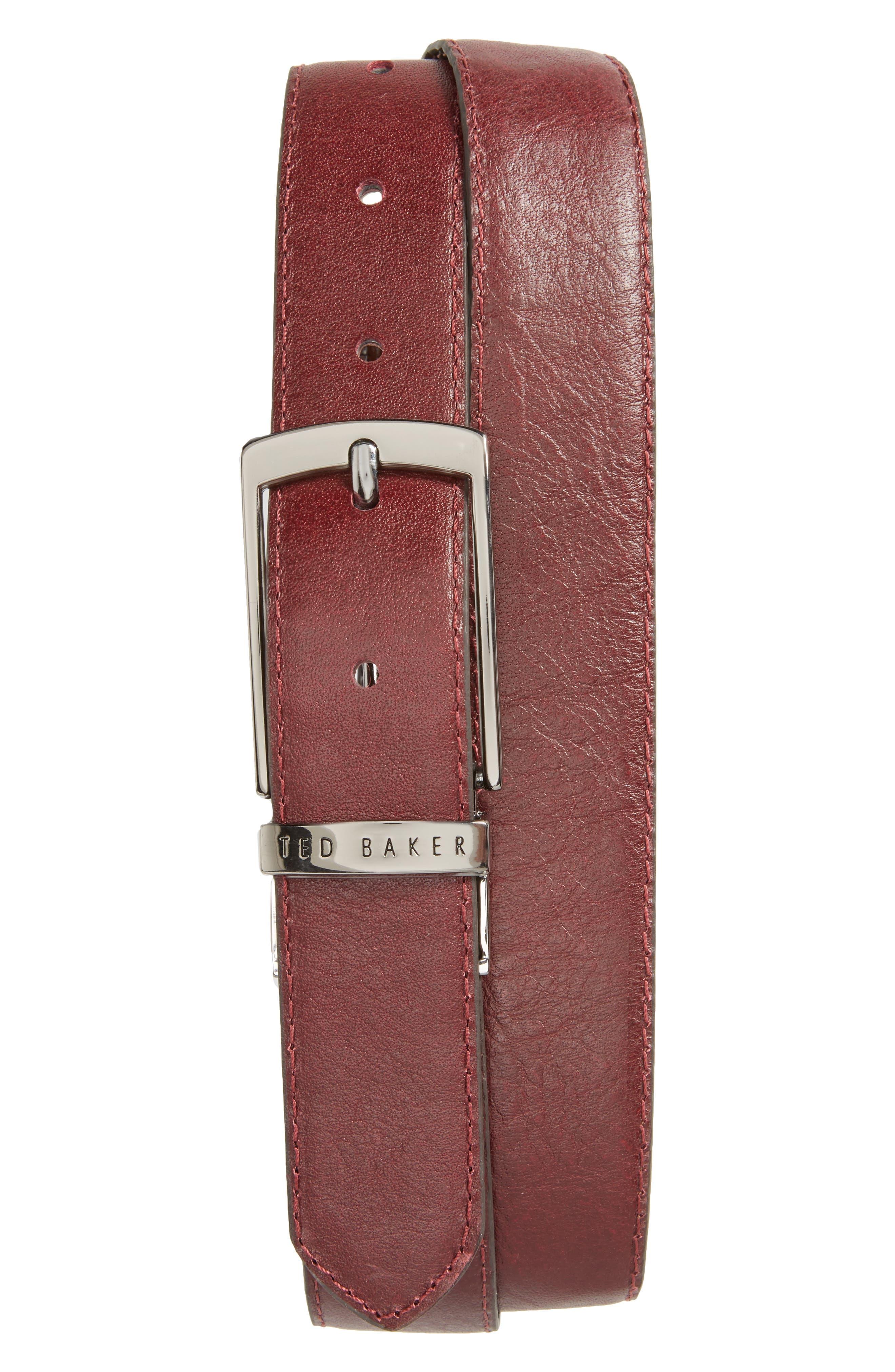 Sunflow Reversible Leather Belt,                             Alternate thumbnail 2, color,                             Chocolate/Burgundy